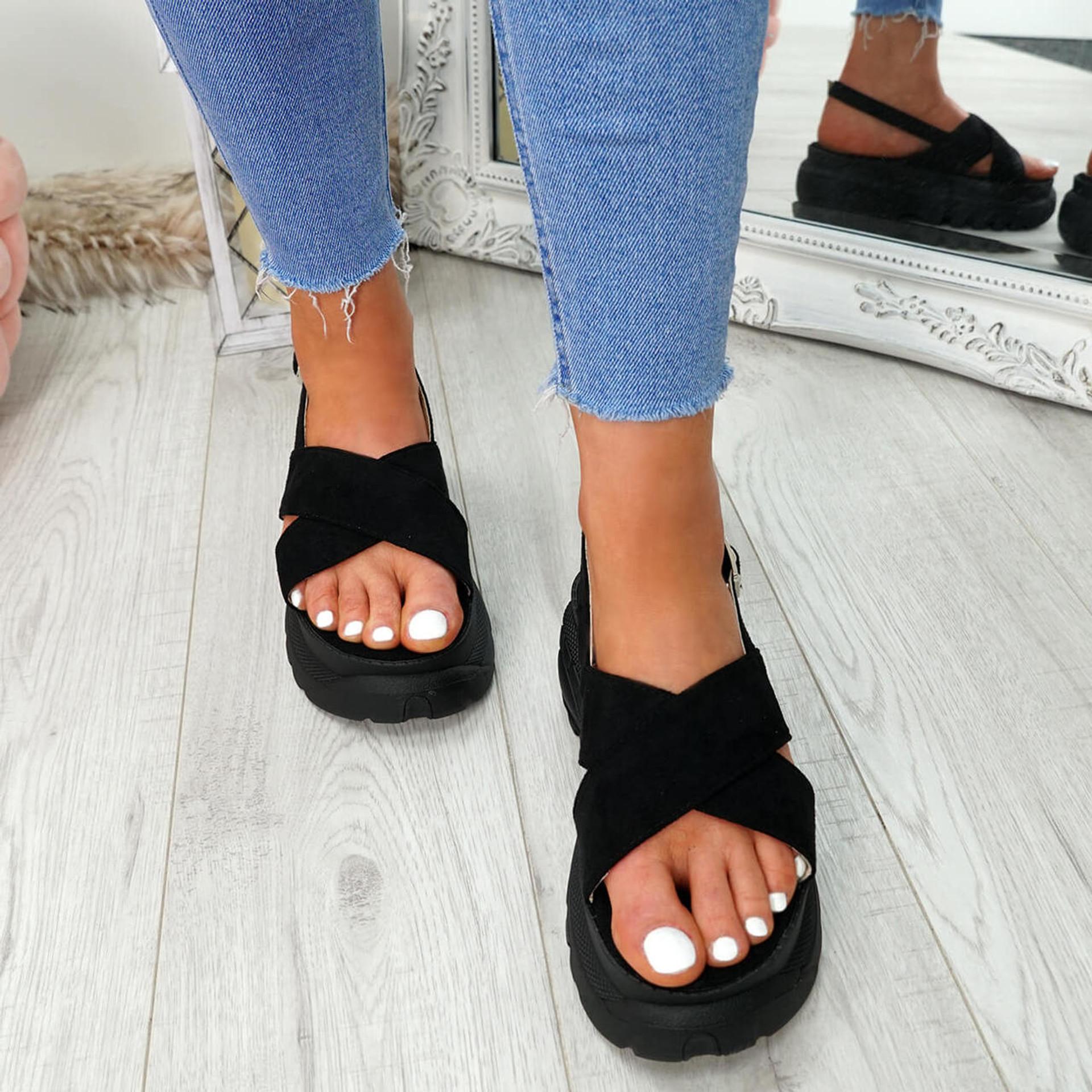 Yatta Black Peep Toe Heel Sandals