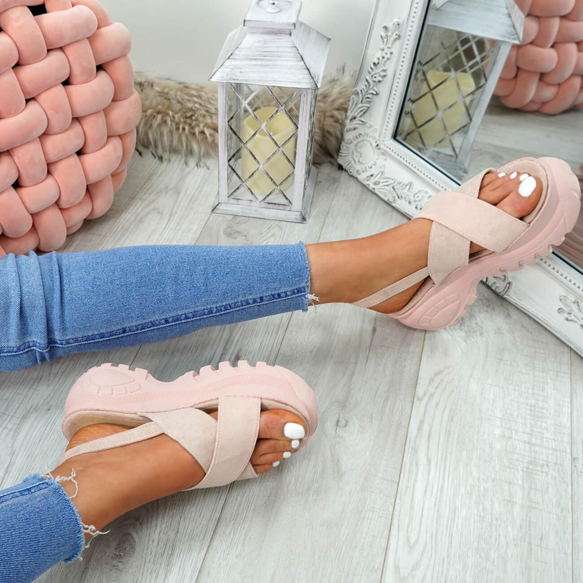 Yatta Pink Peep Toe Heel Sandals