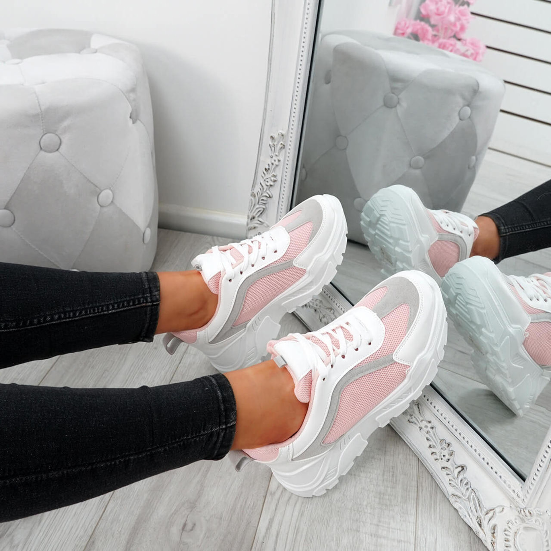 Sunna Pink Chunky Trainers