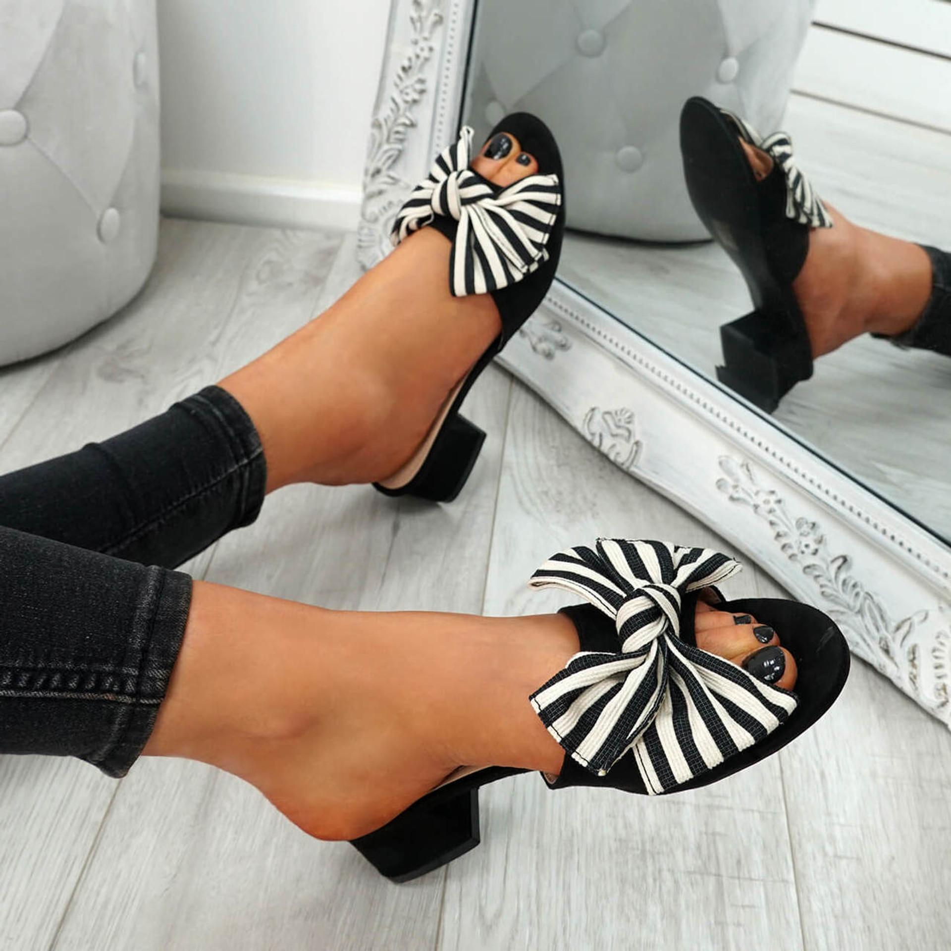 Fika Black Slip On Sandals
