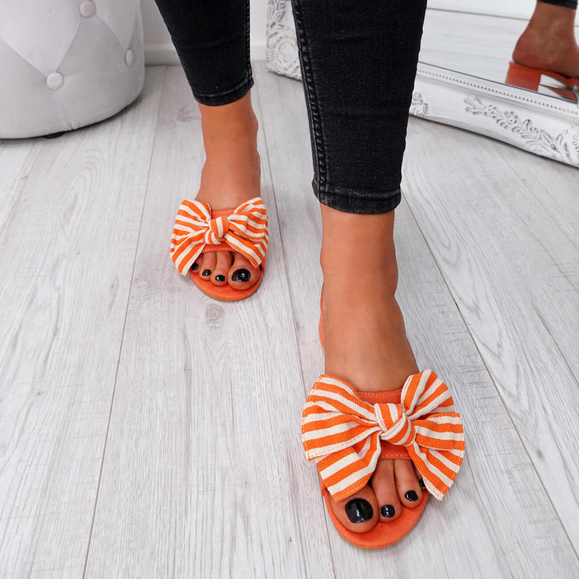 Fika Orange Slip On Sandals