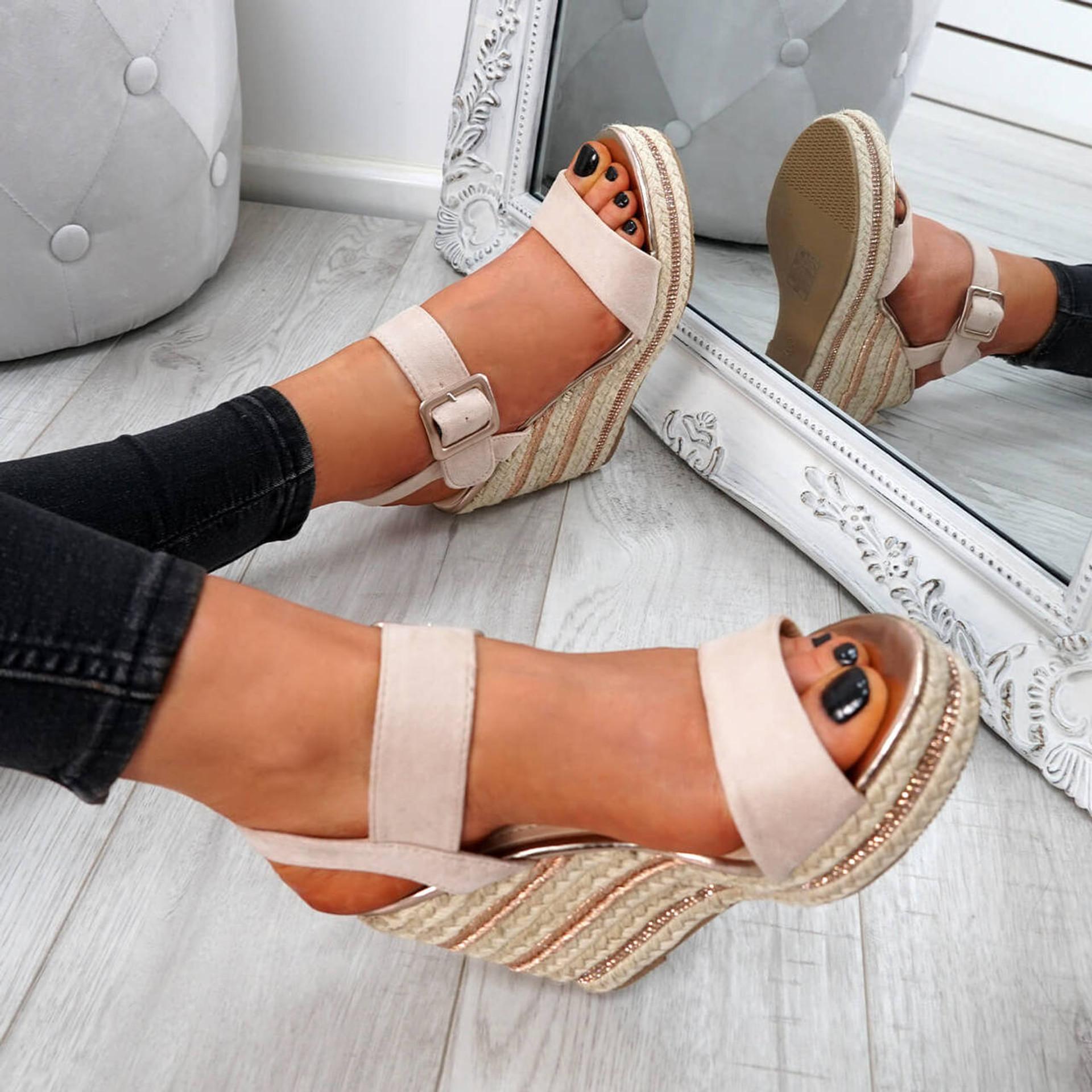 Alsa Nude Wedge Platform Sandals
