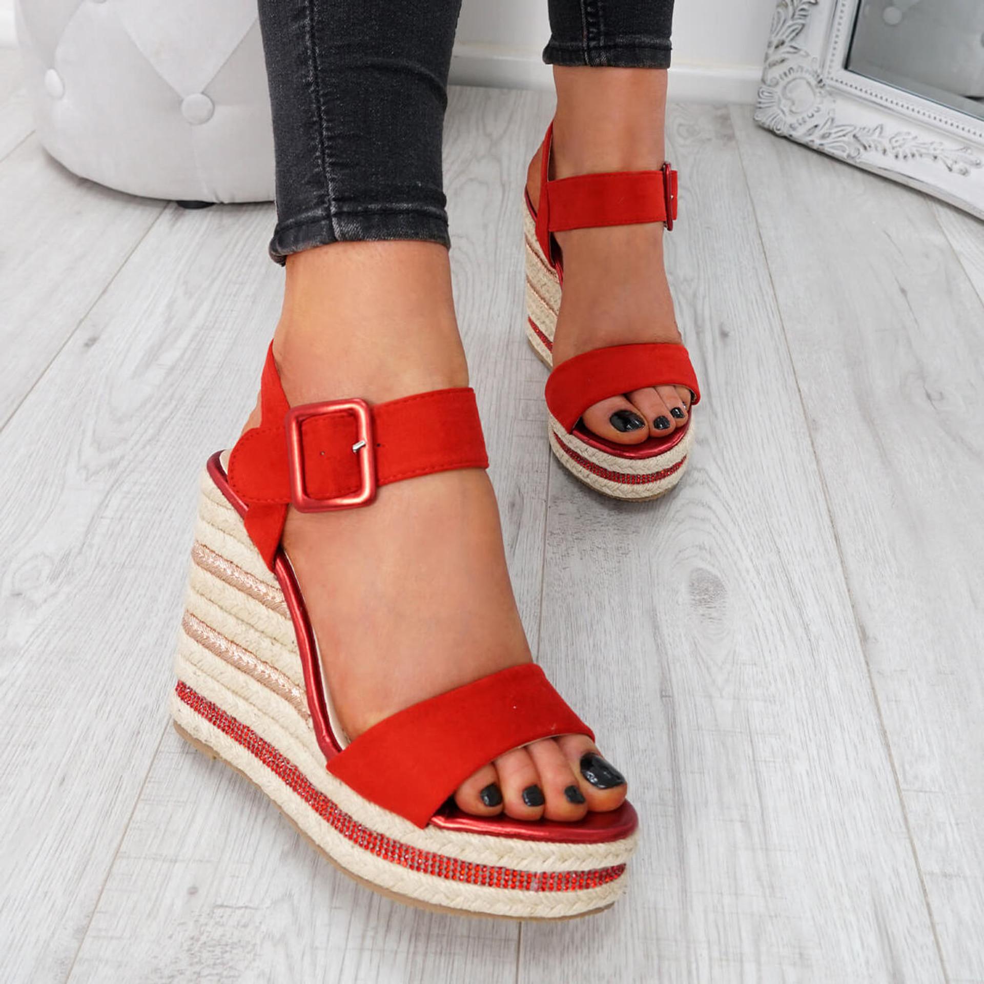 Alsa Red Wedge Platform Sandals