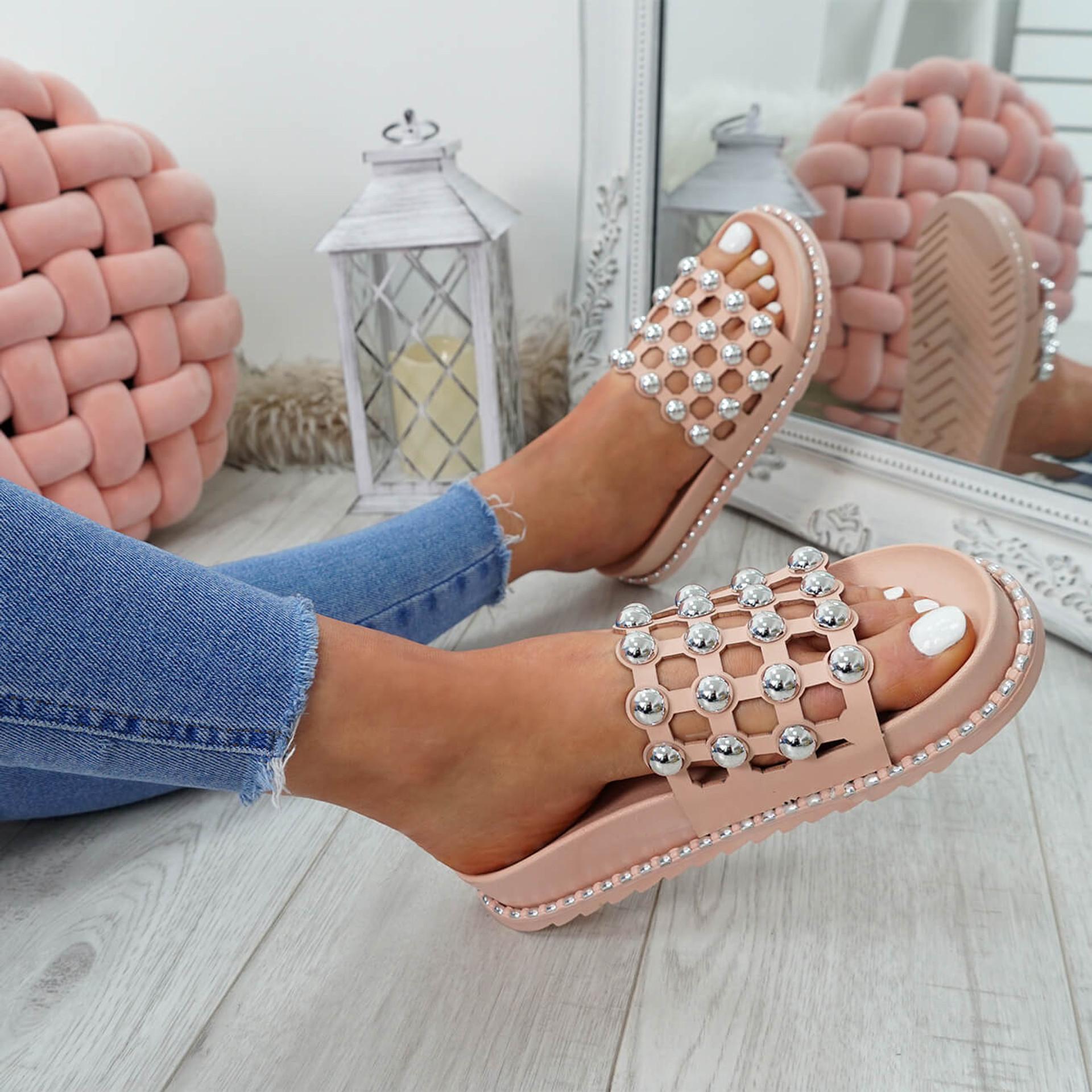 Ivva Pink Pearl Flat Sandals
