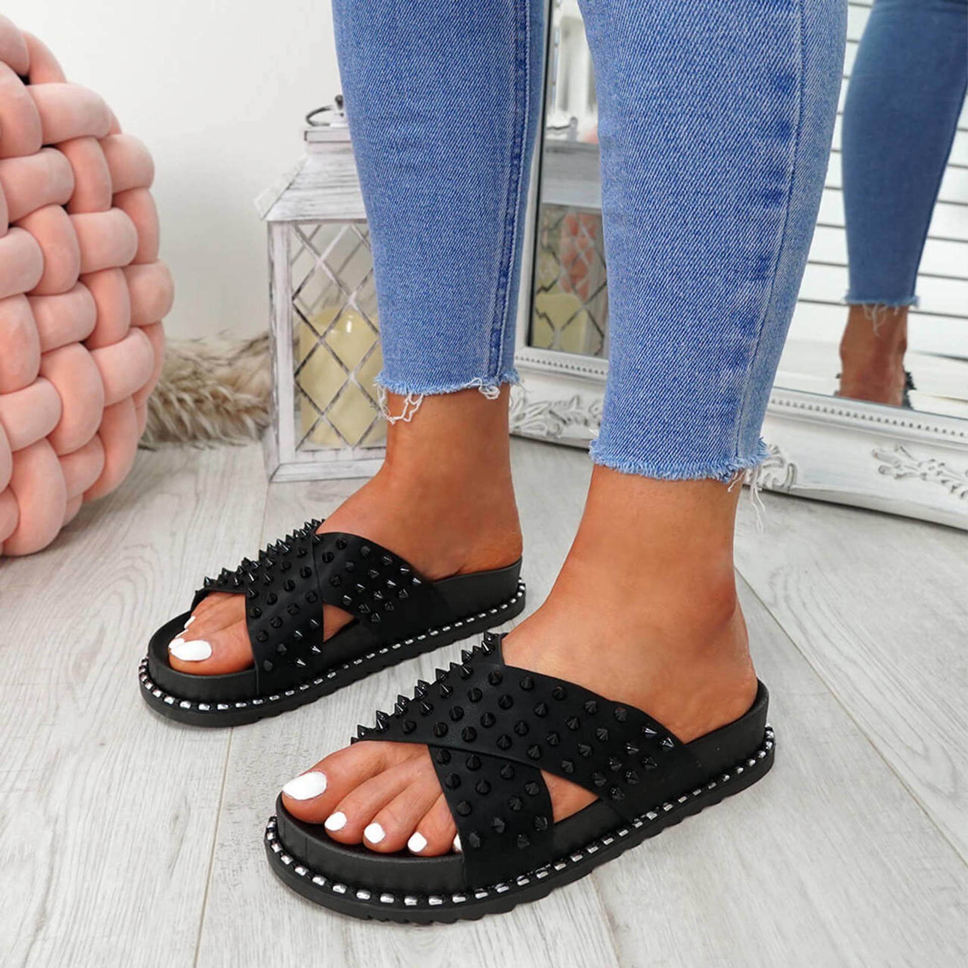 Waya Black Spike Stud Flat Sandals