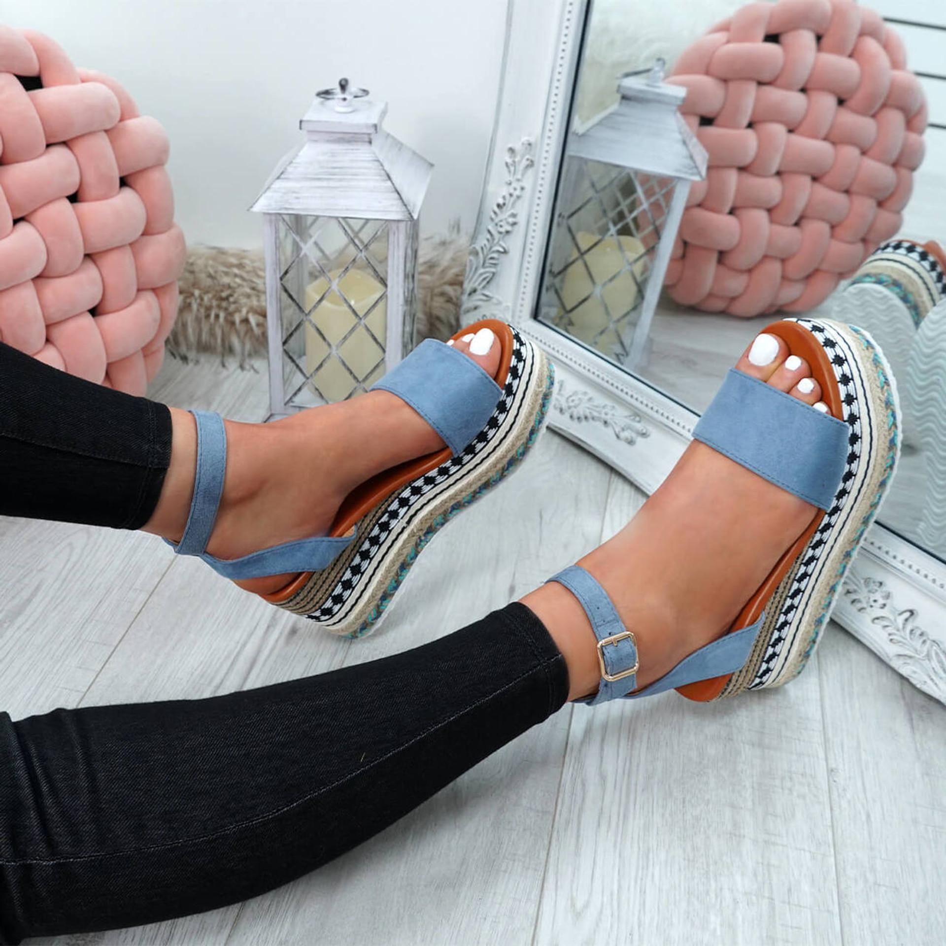 Sinka Blue Flatform Sandals