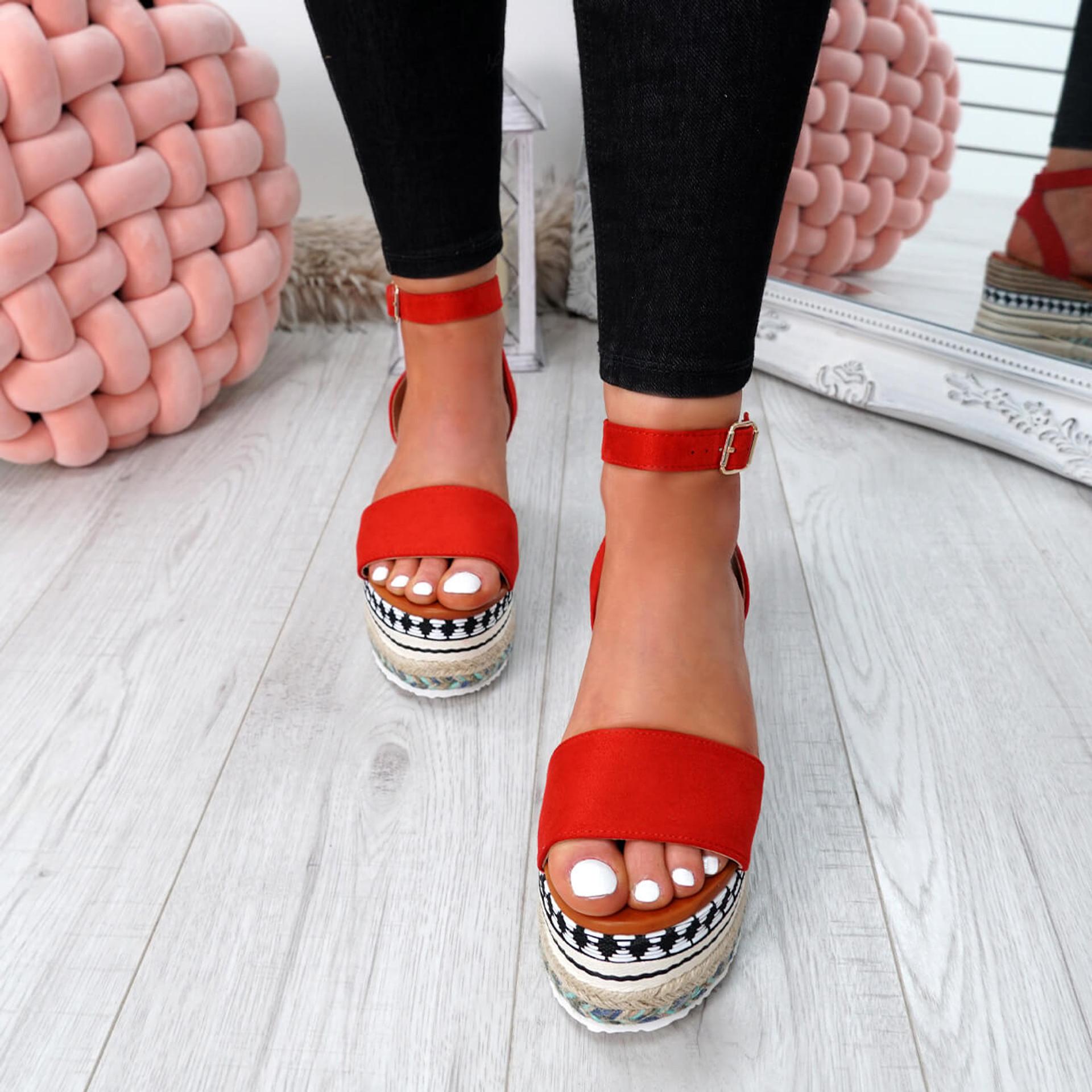 Sinka Red Flatform Sandals