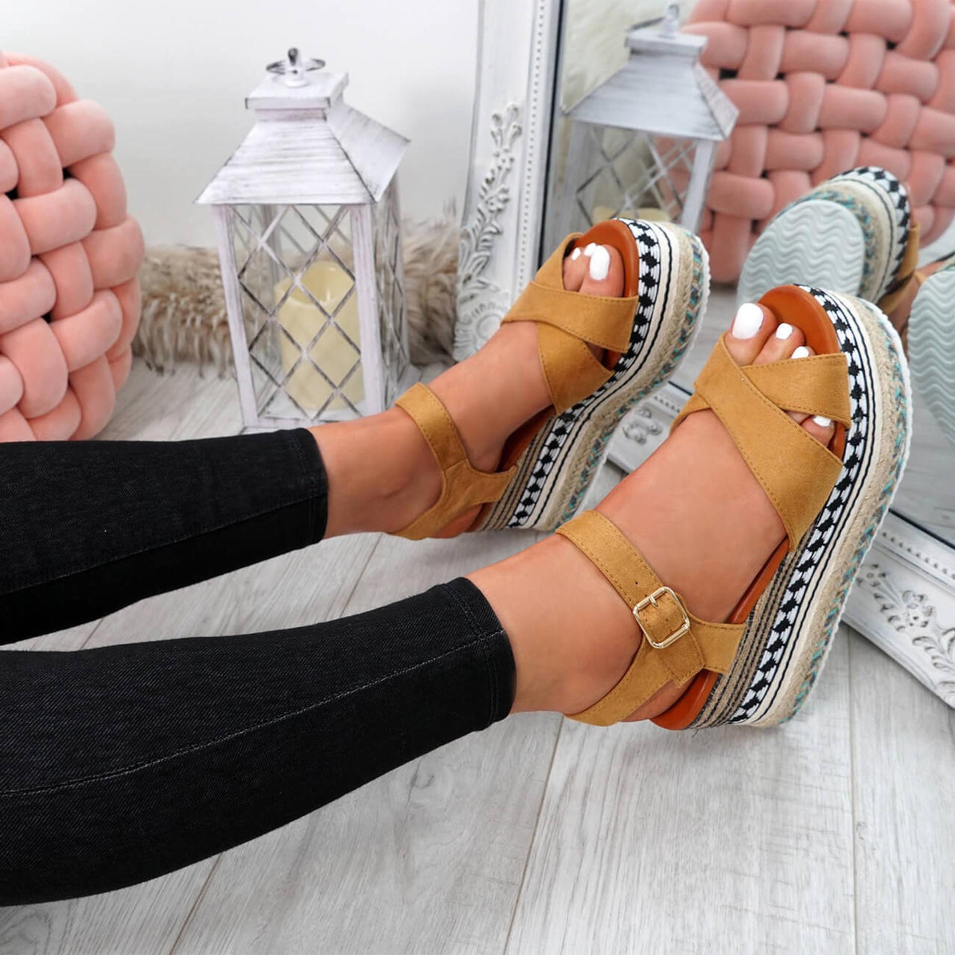 Egis Camel Espadrille Flatform Sandals