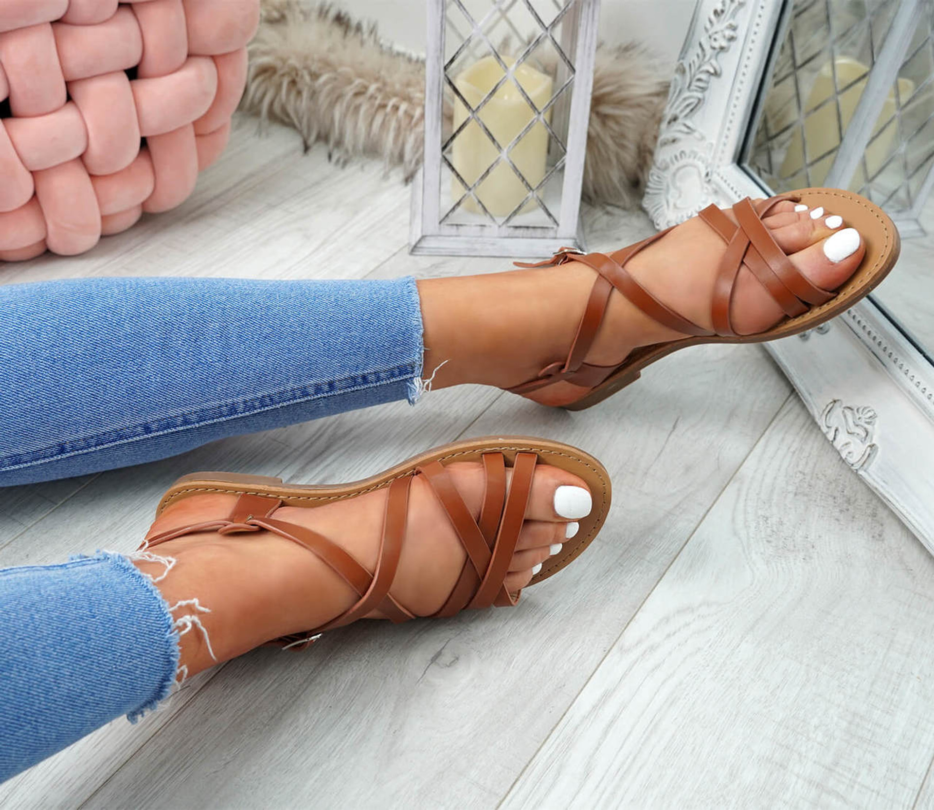 Alto Camel Peep Toe Flat Sandals