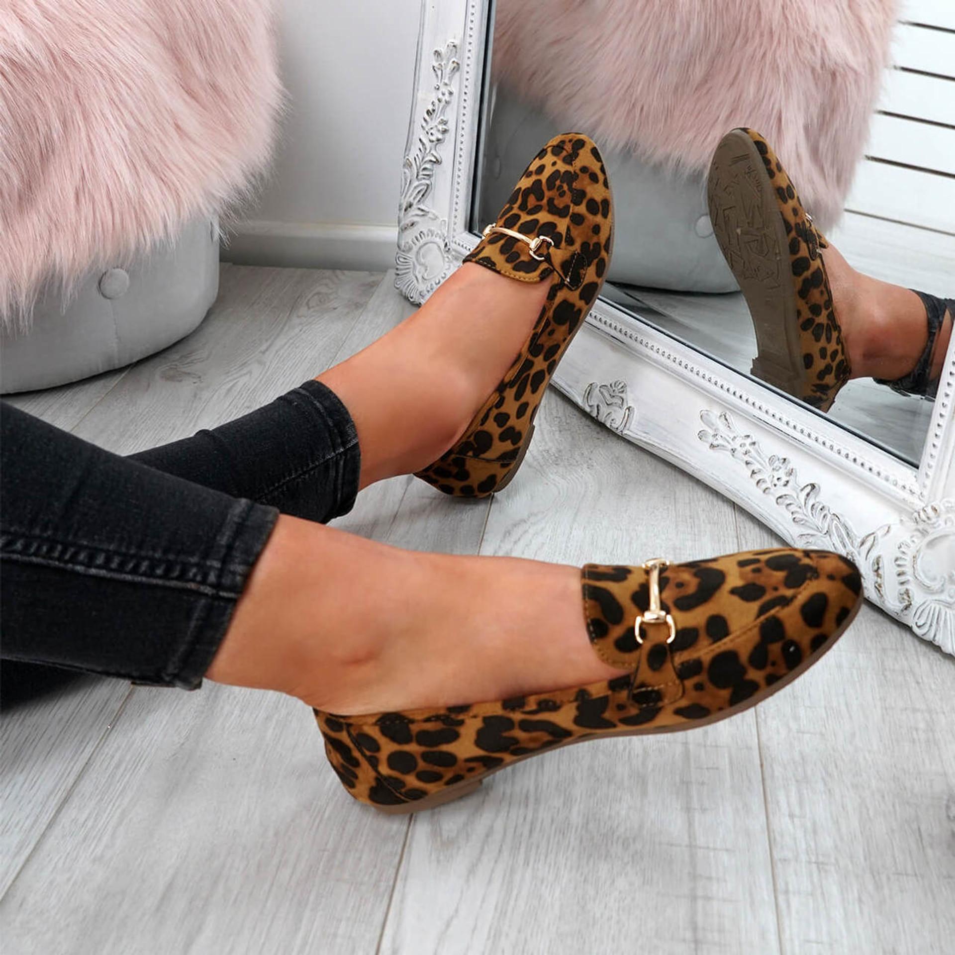 Amma Leopard Slip On Ballerinas