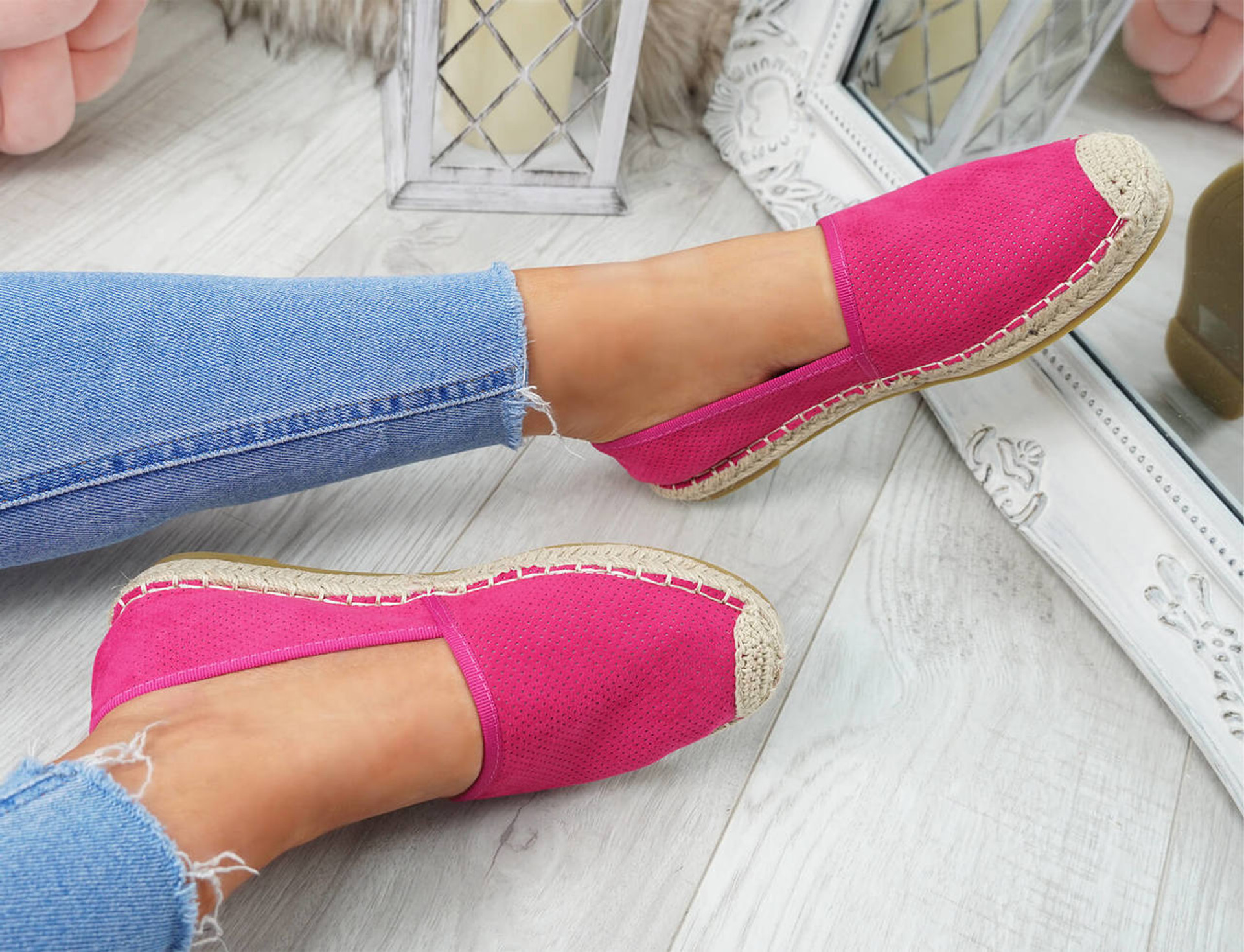 womens fuchsia color espadrille ballerinas size uk 3 4 5 6 7 8