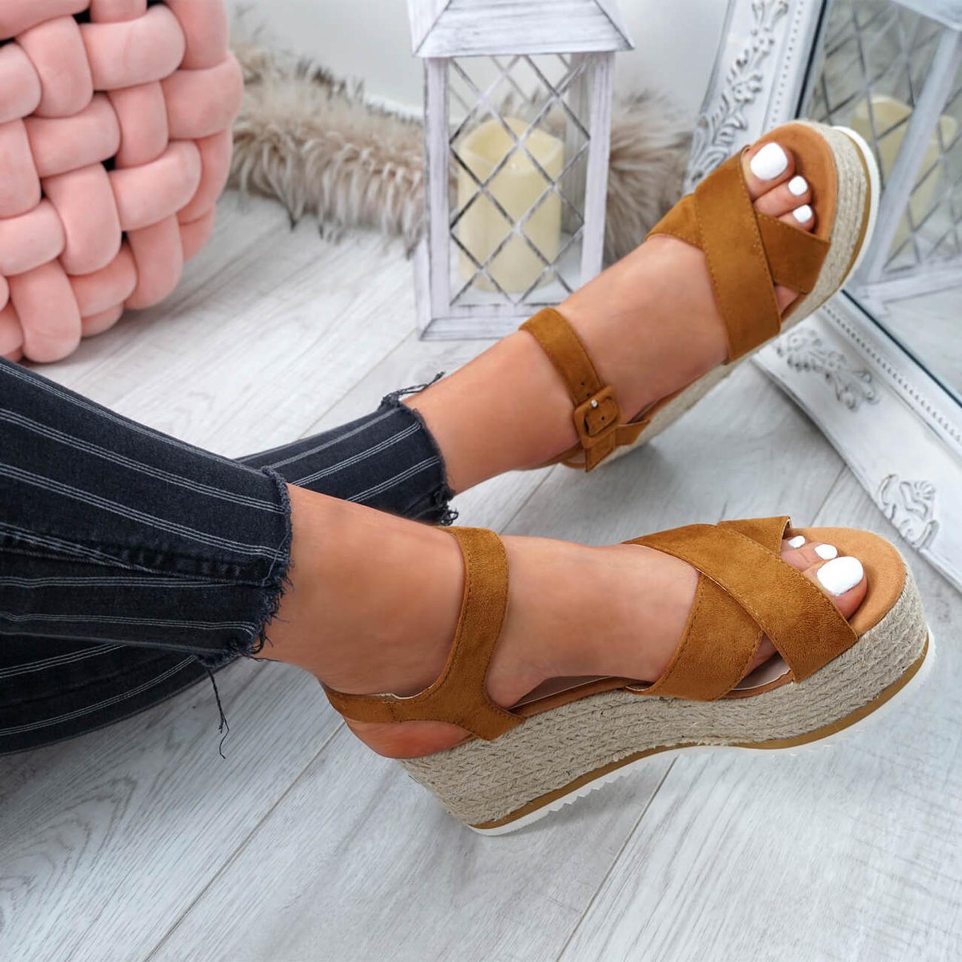 Amyt Camel Espadrille Wedge Sandals