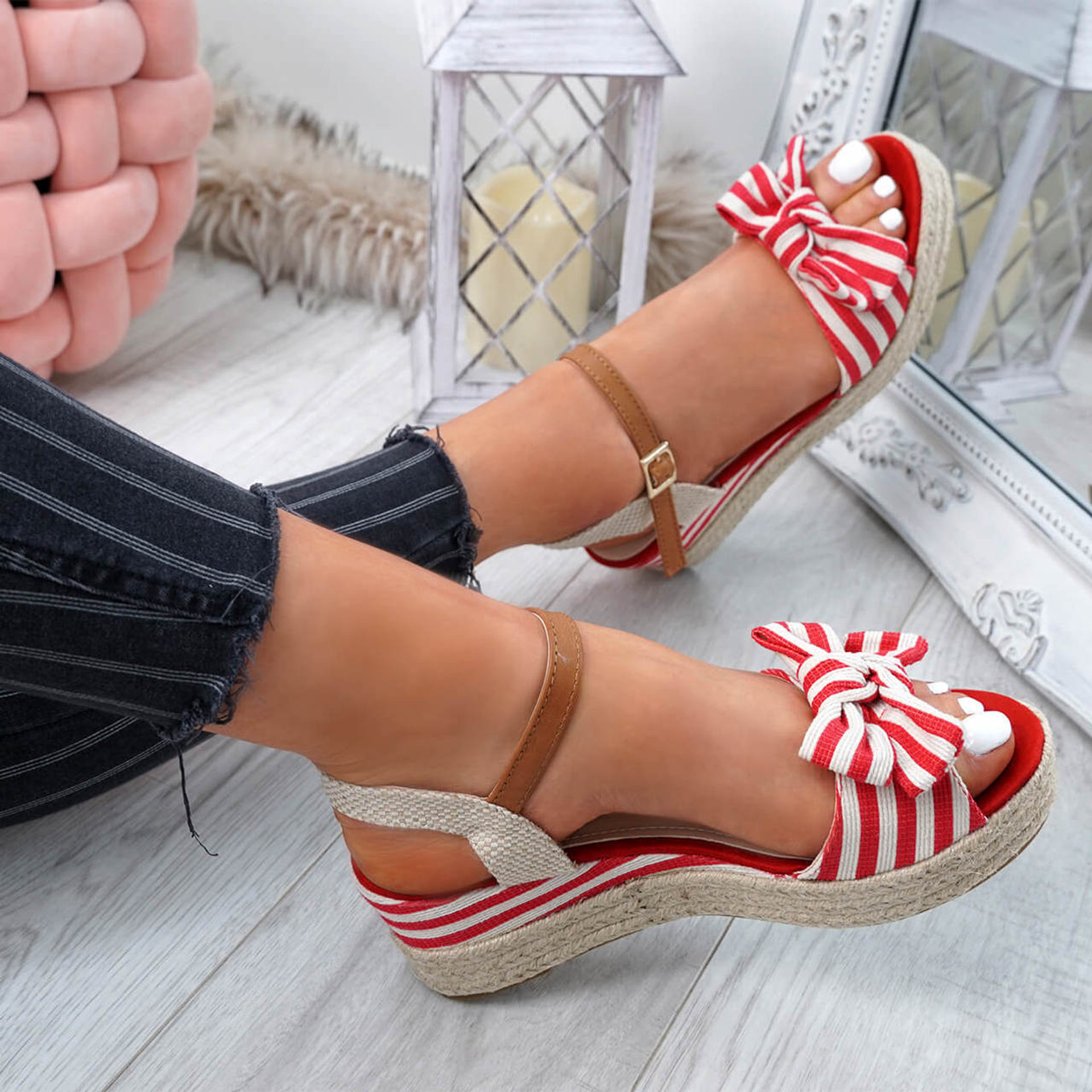 Kaza Red Espadrille Platform Sandals