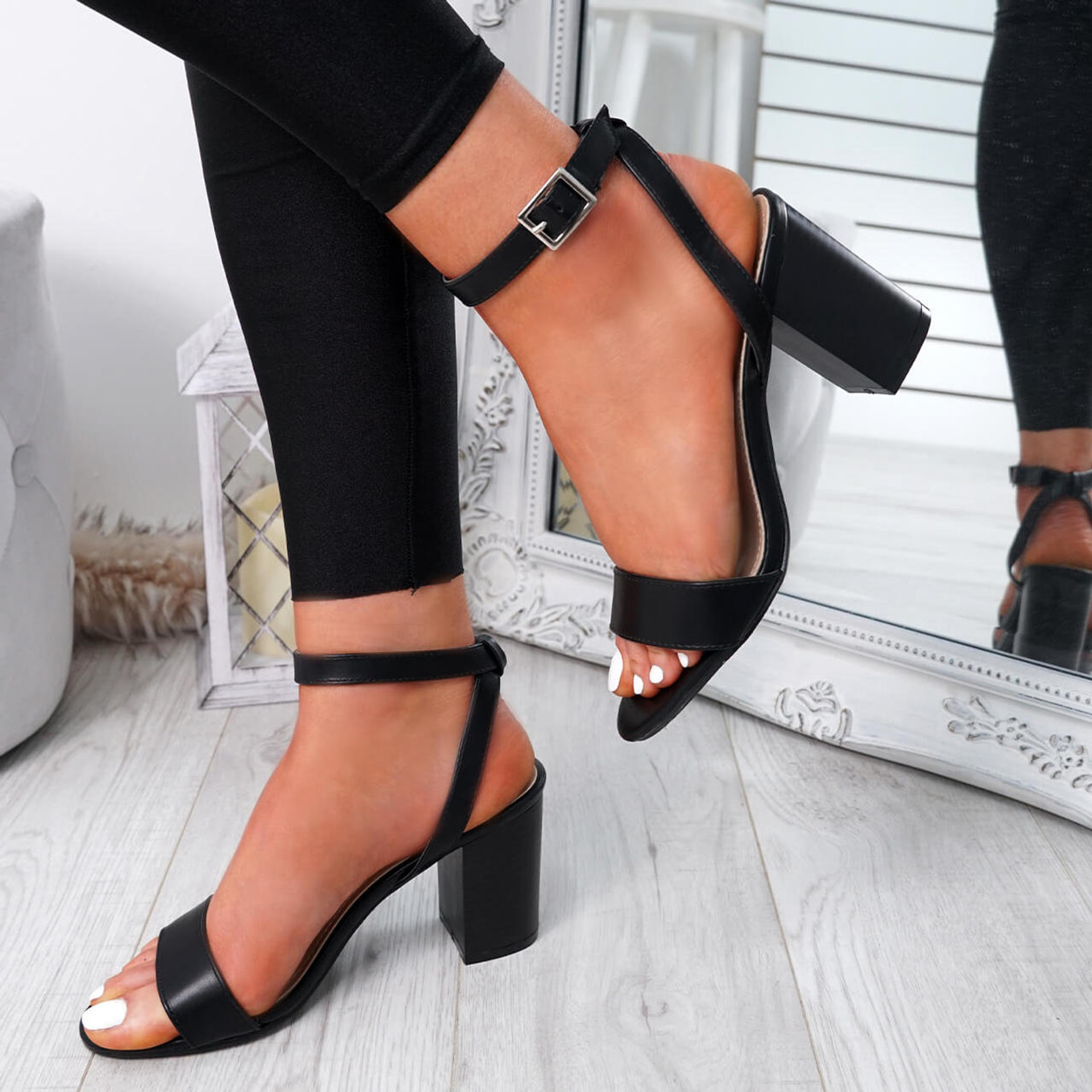 Tewa Black Ankle Strap Sandals