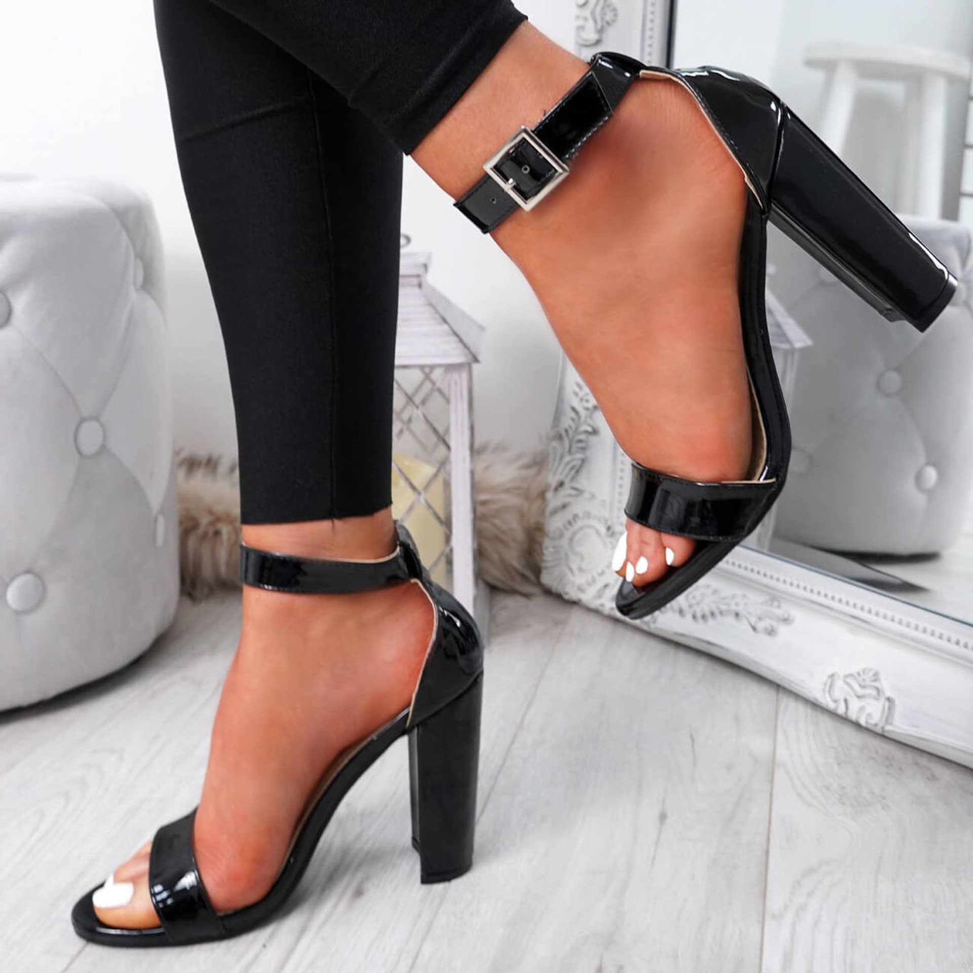 womens black ankle strap patent sandals size uk 3 4 5 6 7 8