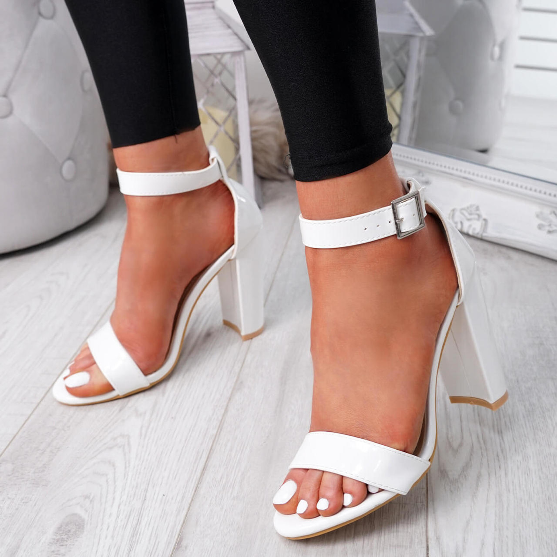 womens white ankle strap patent sandals size uk 3 4 5 6 7 8