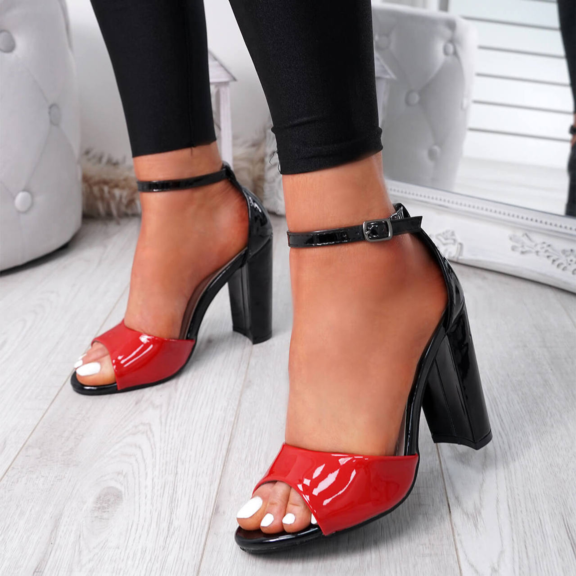 Lagry Red Patent Block Heel Sandals