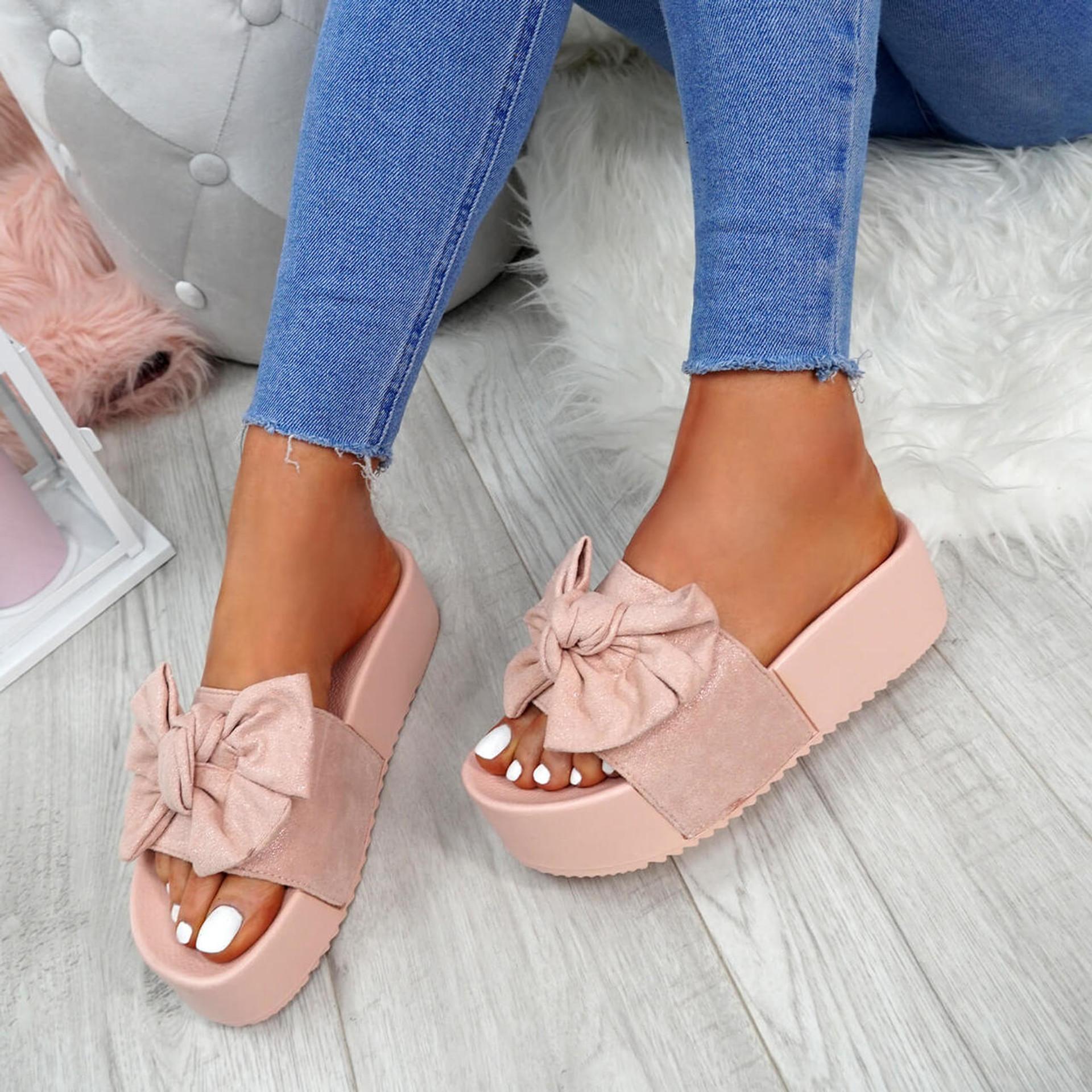 Nixy Pink Bow Slider Flatforms