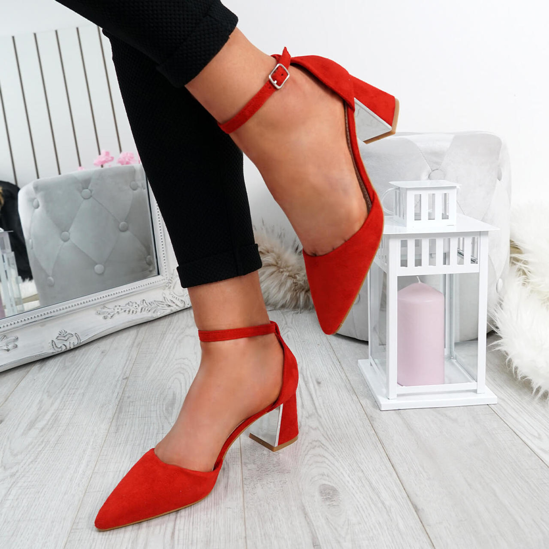 Farra Red Block Heel Pointed Pumps