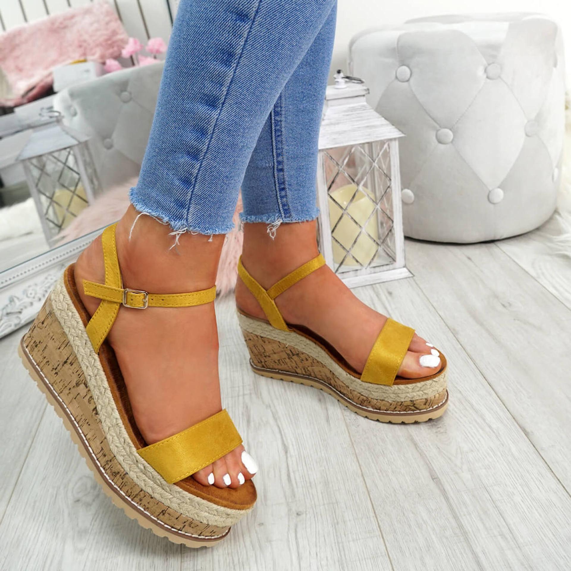 Risse Yellow Platform Sandals