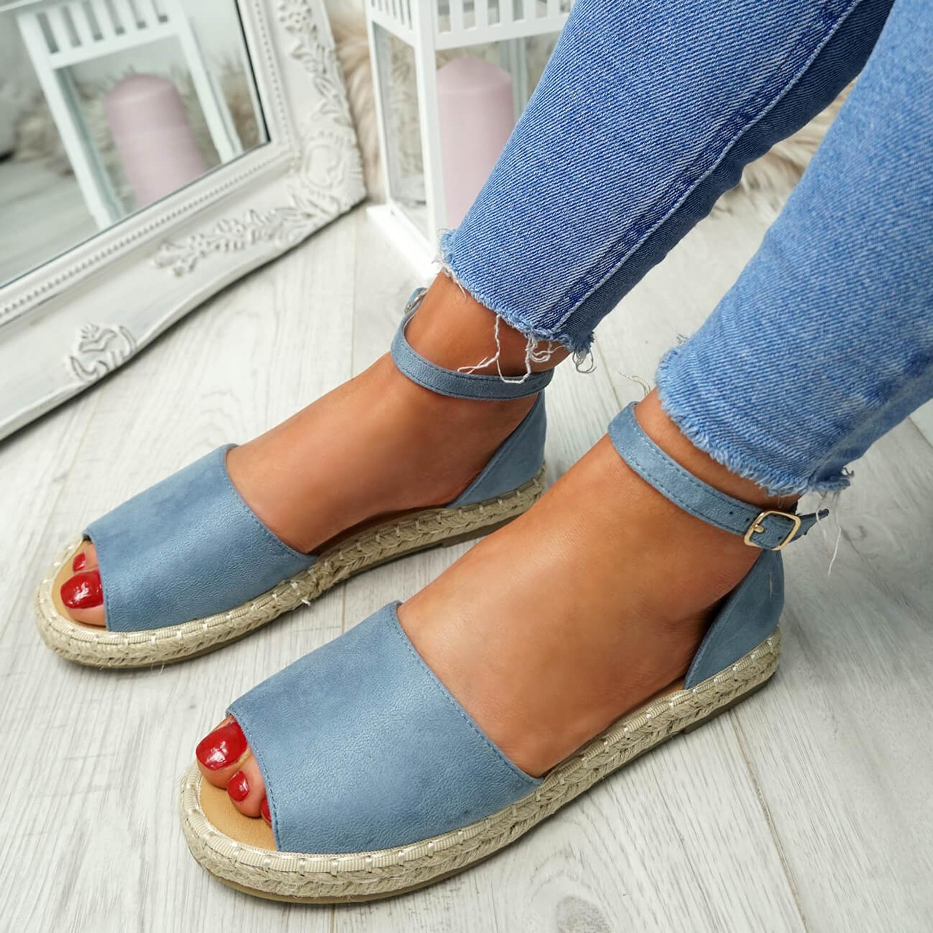 Lorre Blue Espadrille Flat Sandals