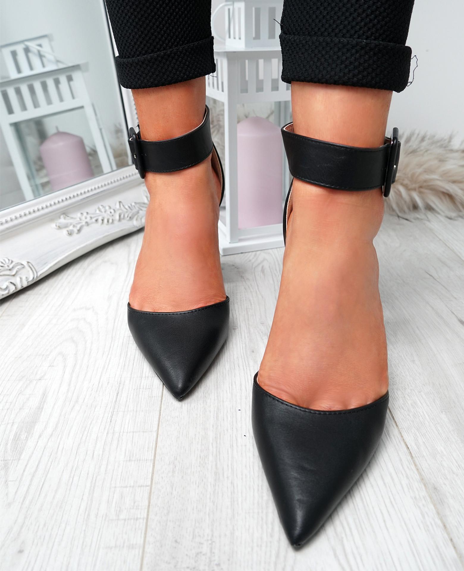 Cherra Black Block Heel Pumps