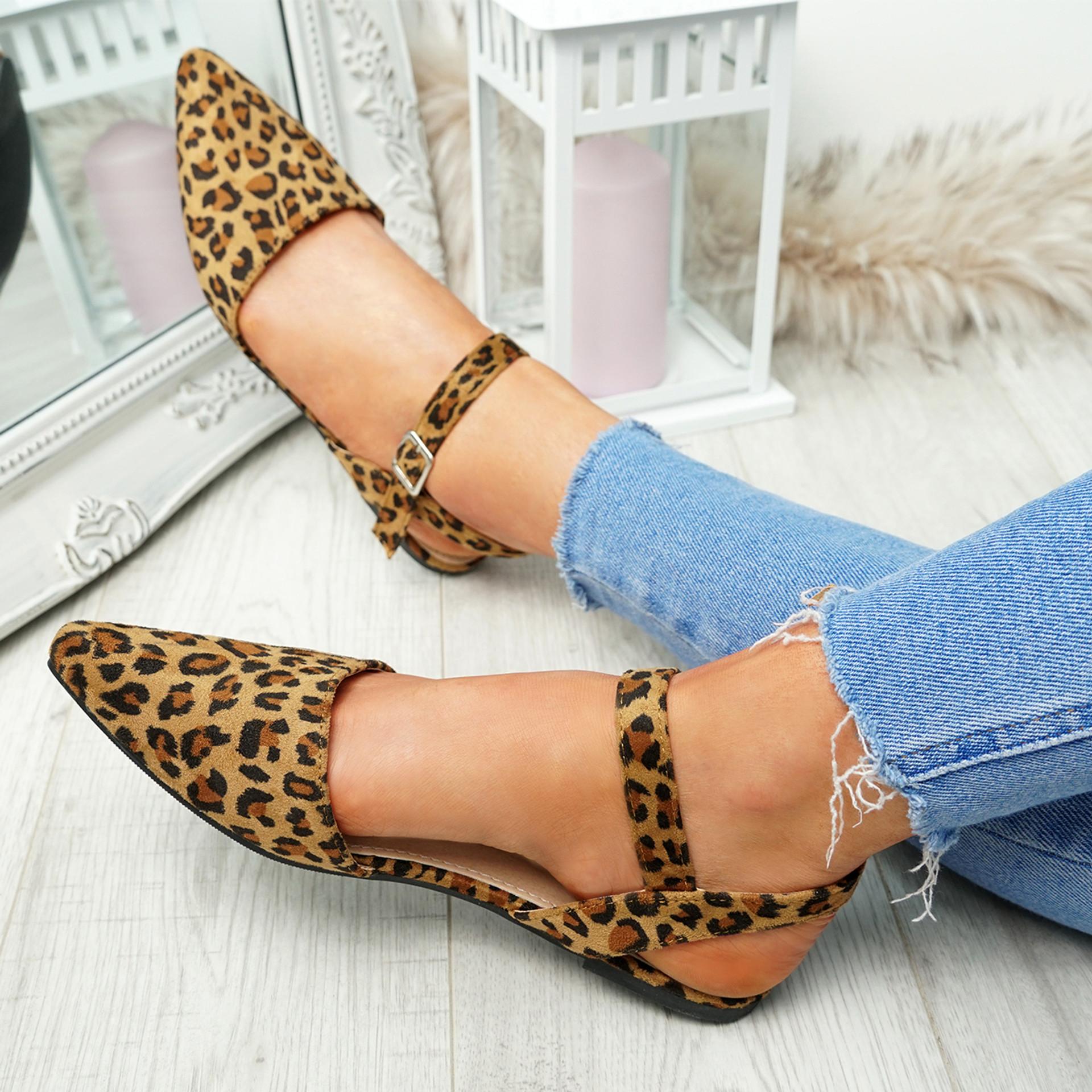 Tenna Leopard Ankle Strap Flat Ballerinas