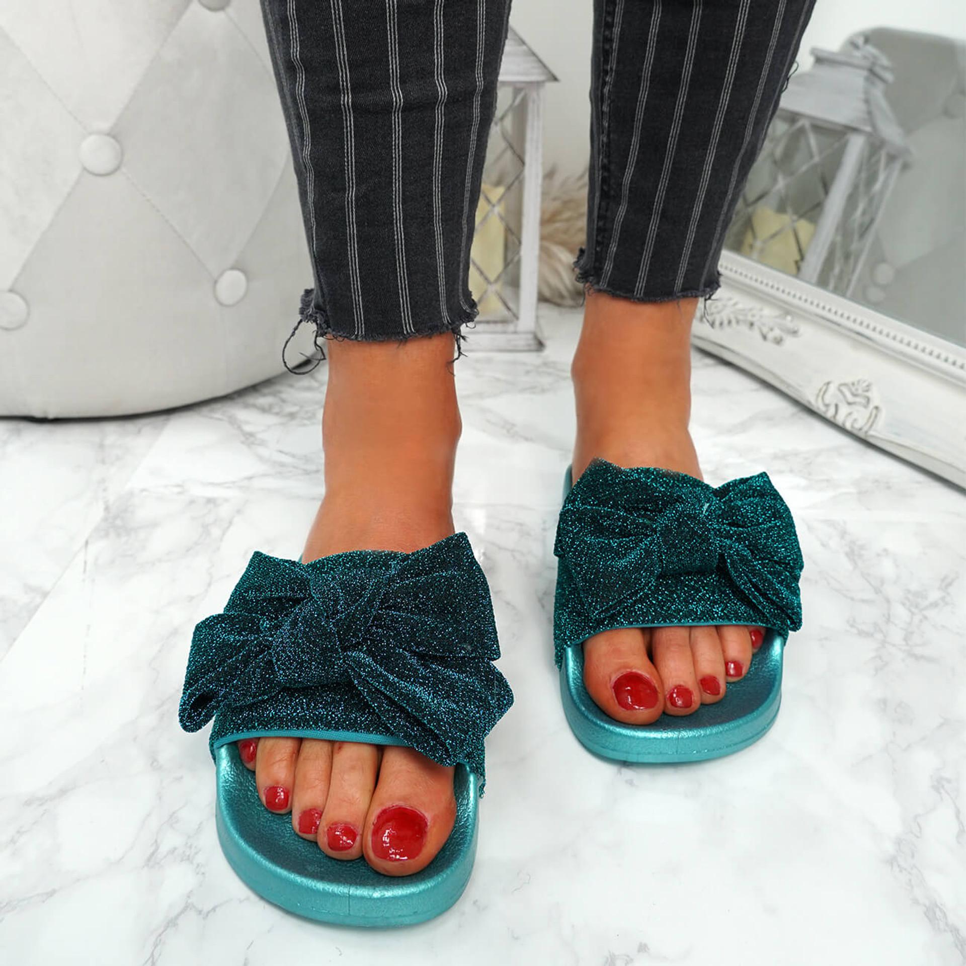 Kayden Blue Glitter Bow Sliders
