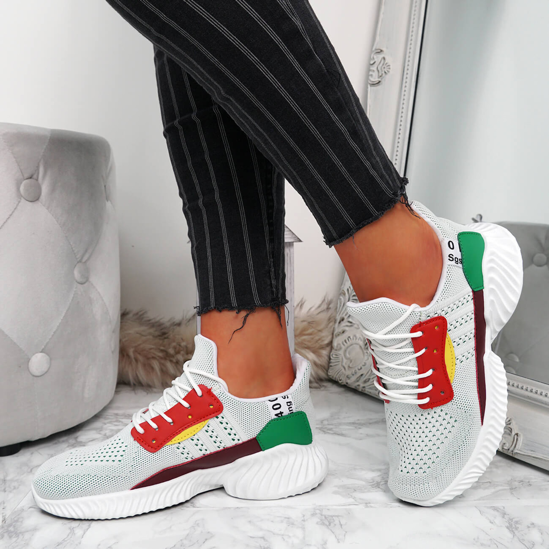 Shannon White Lace Up Trainers
