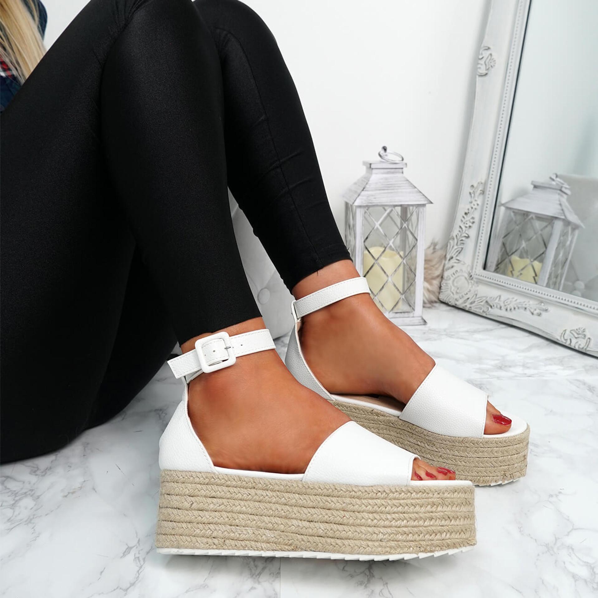 Kianna White Pu Espadrille Flatforms