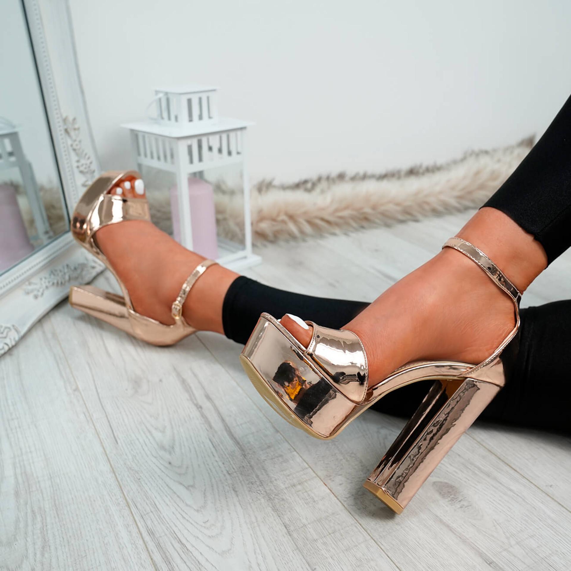 Avery Champagne Block Heel Platforms