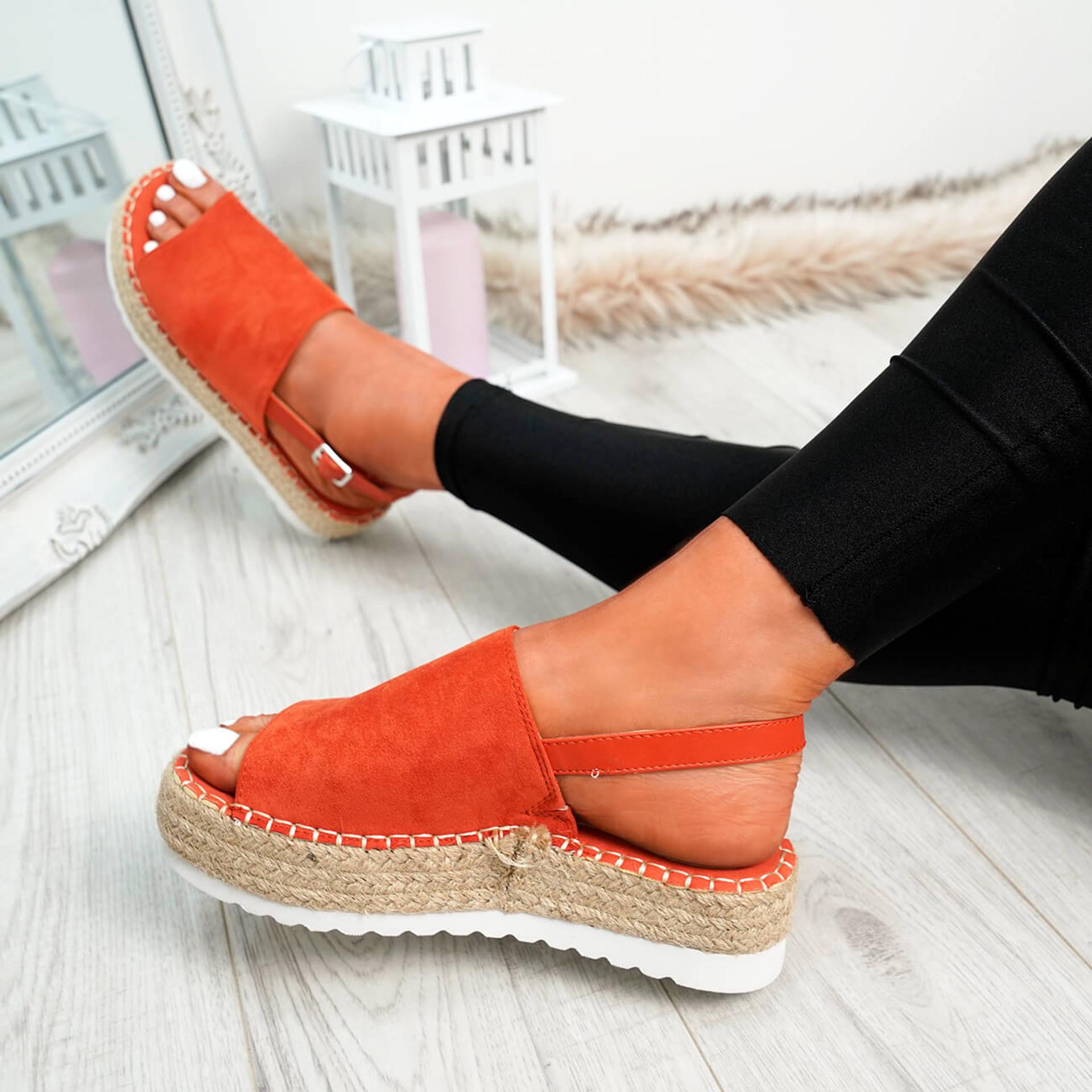 Raina Orange Buckle Flatforms