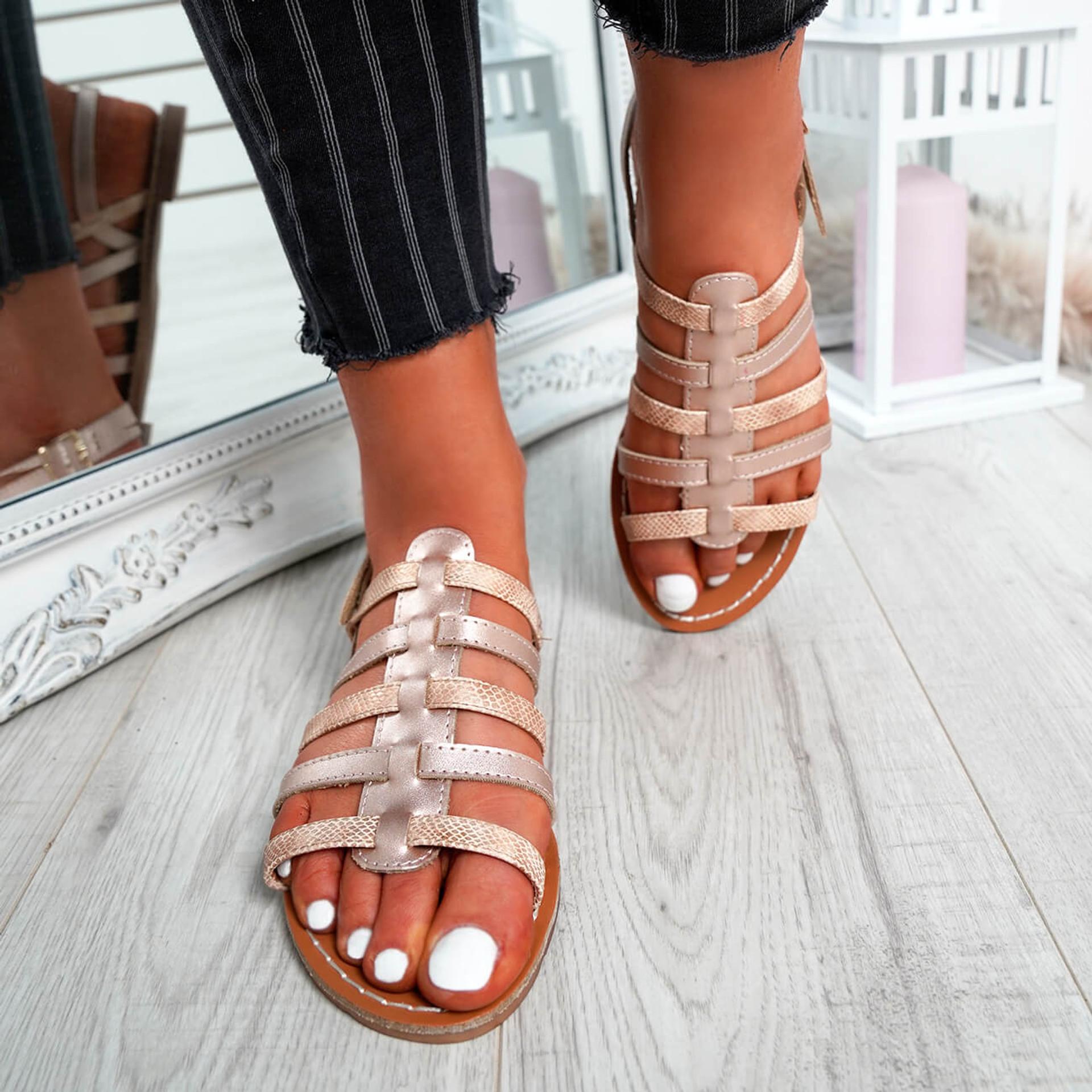 Azul Champagne Flat Sandals