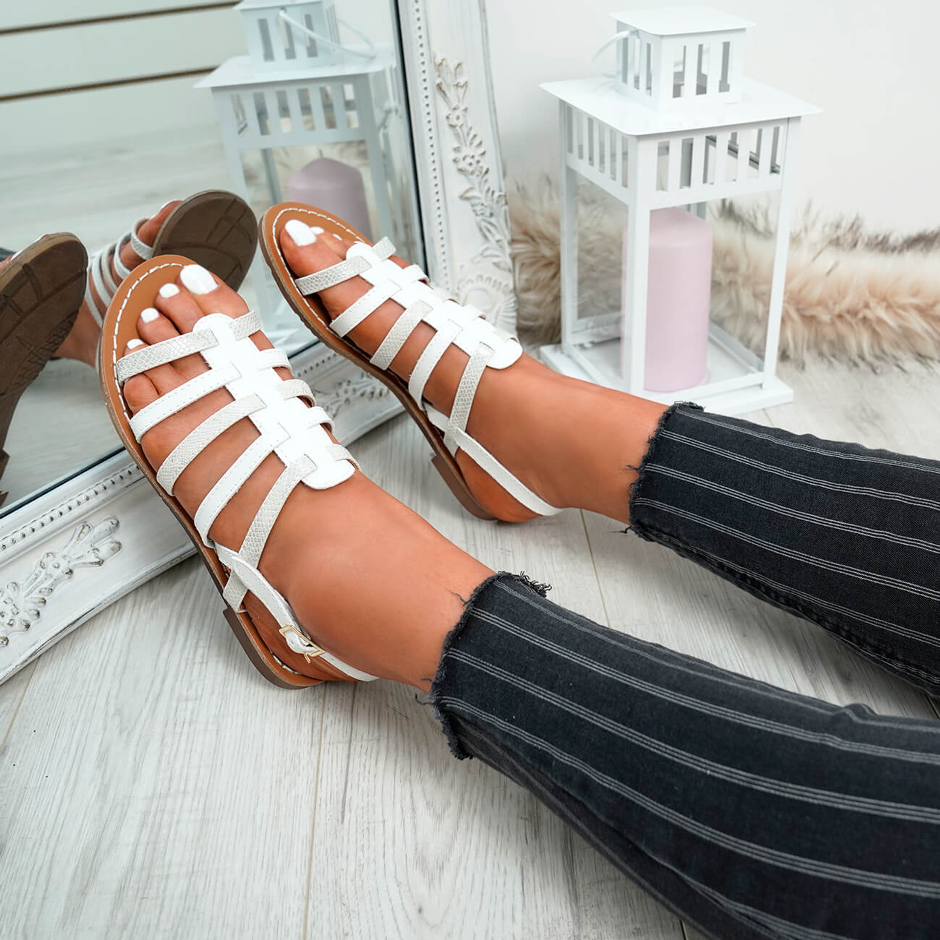 Azul White Flat Sandals