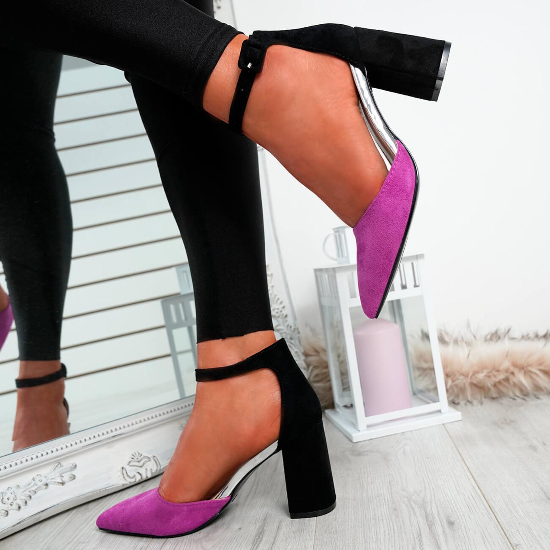 Amara Fuchsia Block Heel Pumps
