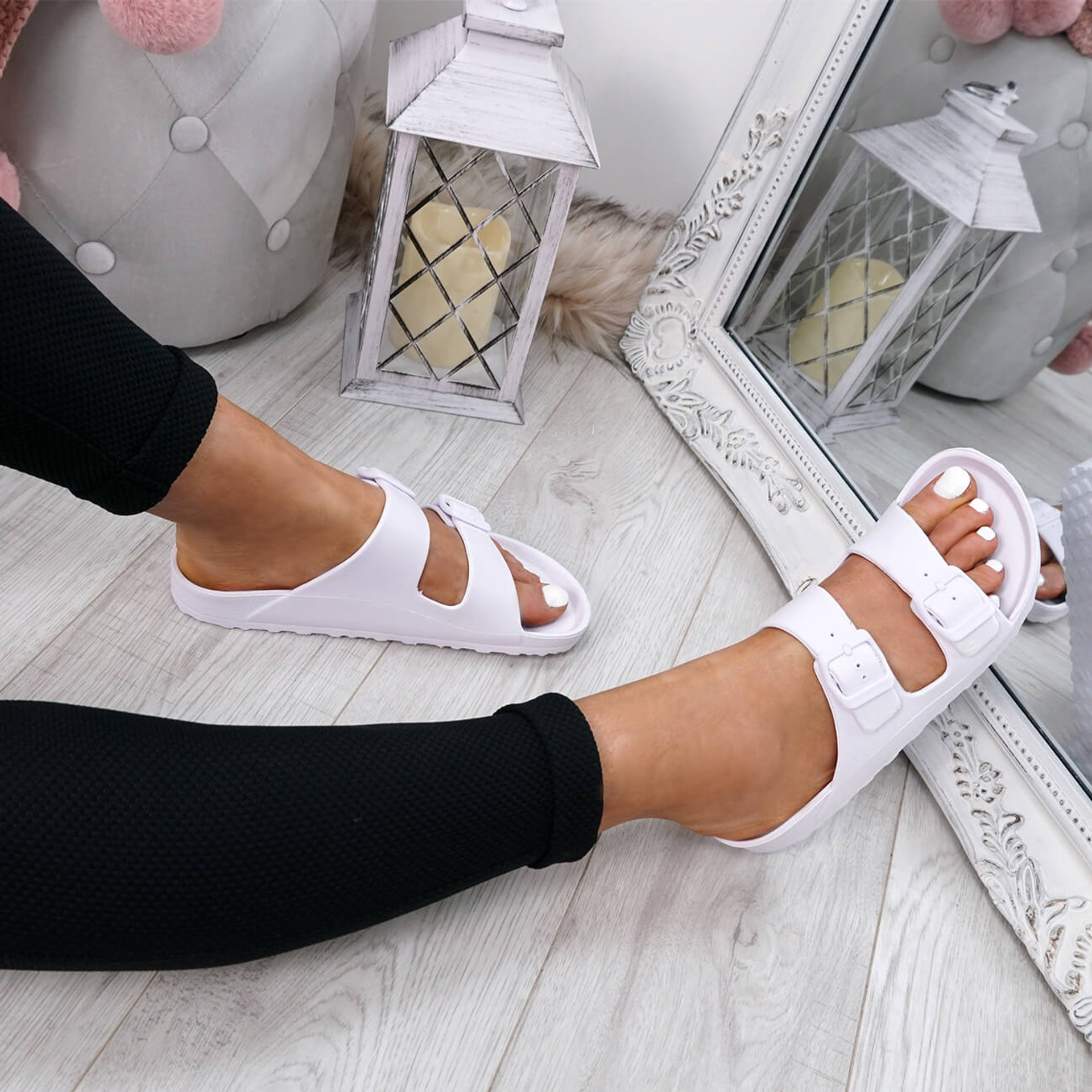Eva White Flat Sandals