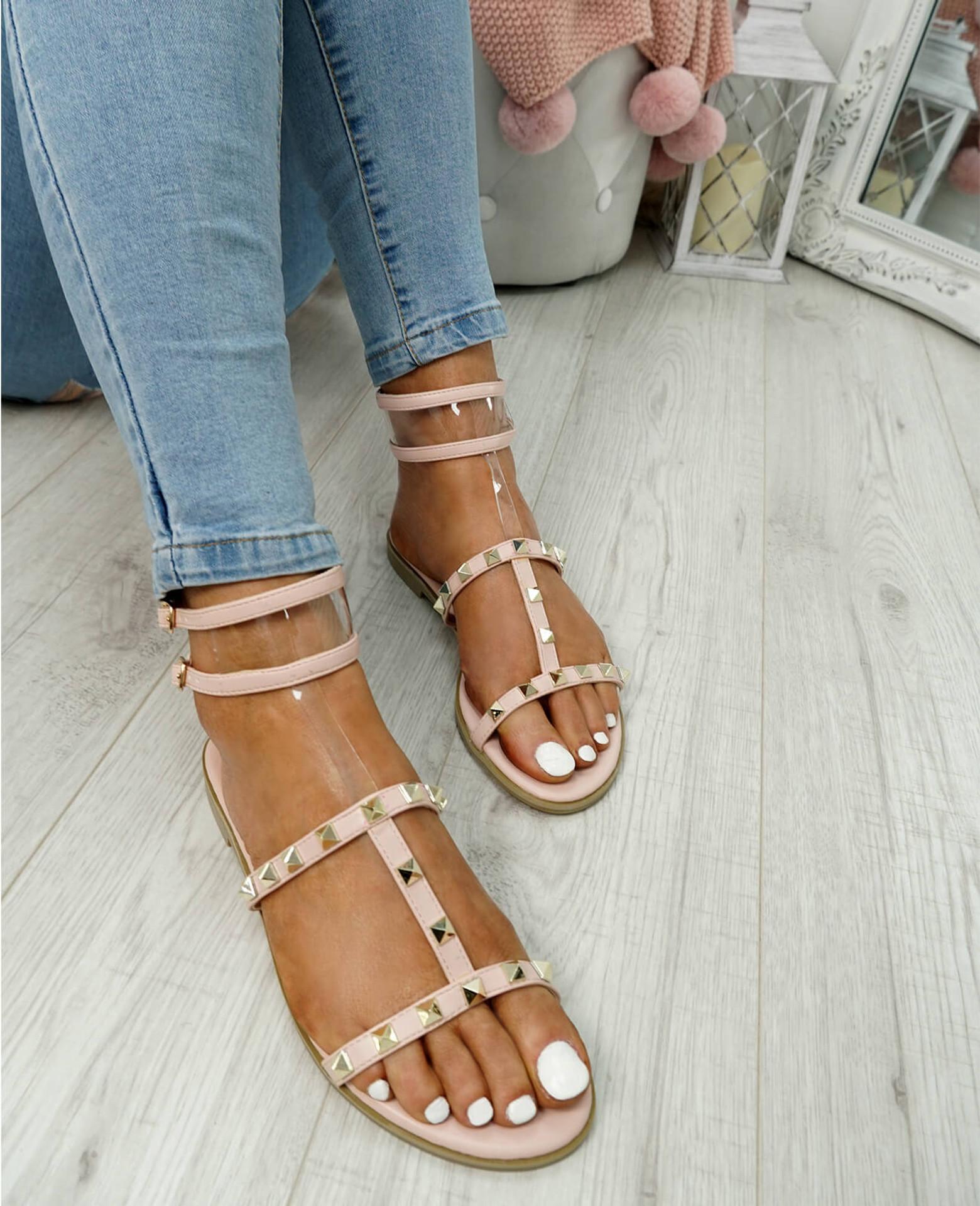 womens pink rock studs sandals t-strap size uk 3 4 5 6 7 8