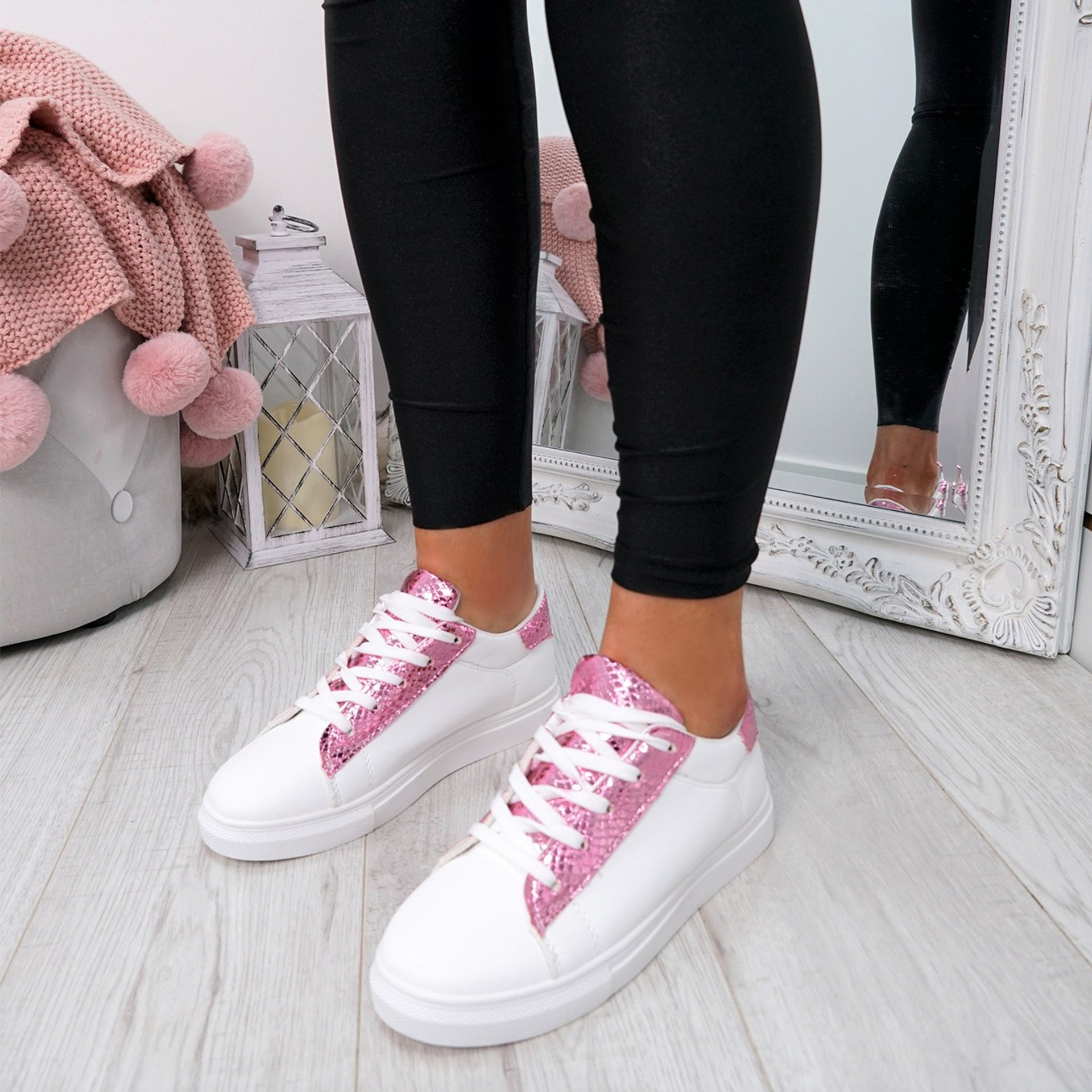 Niry Pink Snake Trainers