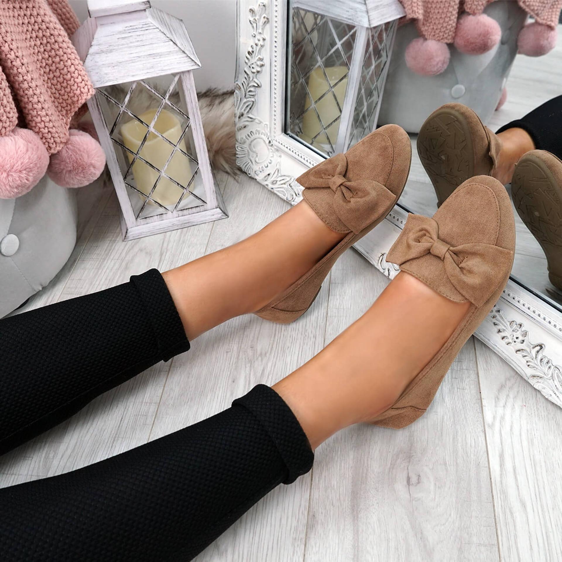 Legga Khaki Bow Ballerinas