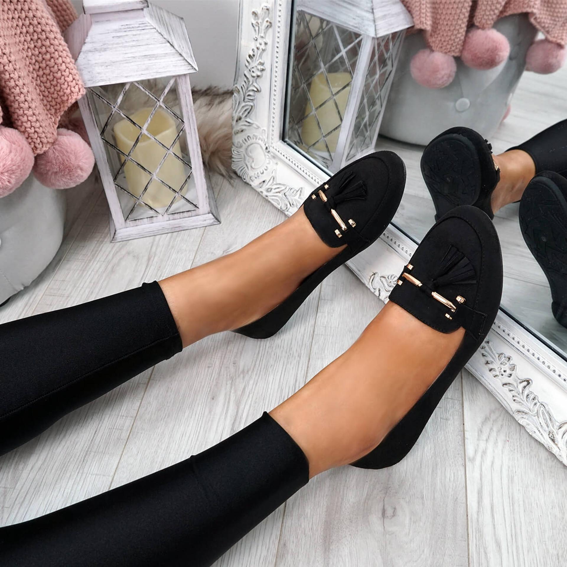 Lorra Black Fringe Ballerinas