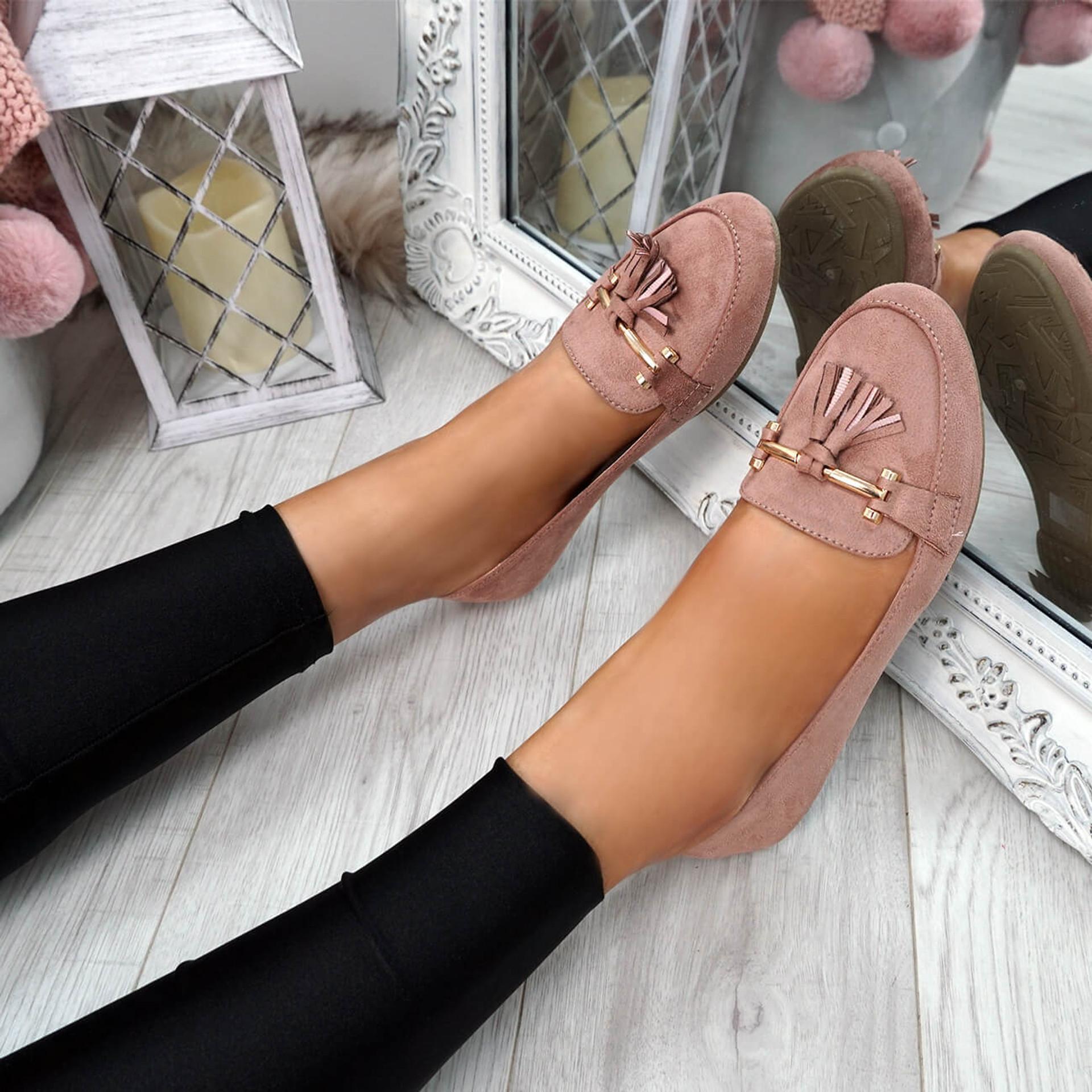 Lorra Pink Fringe Ballerinas