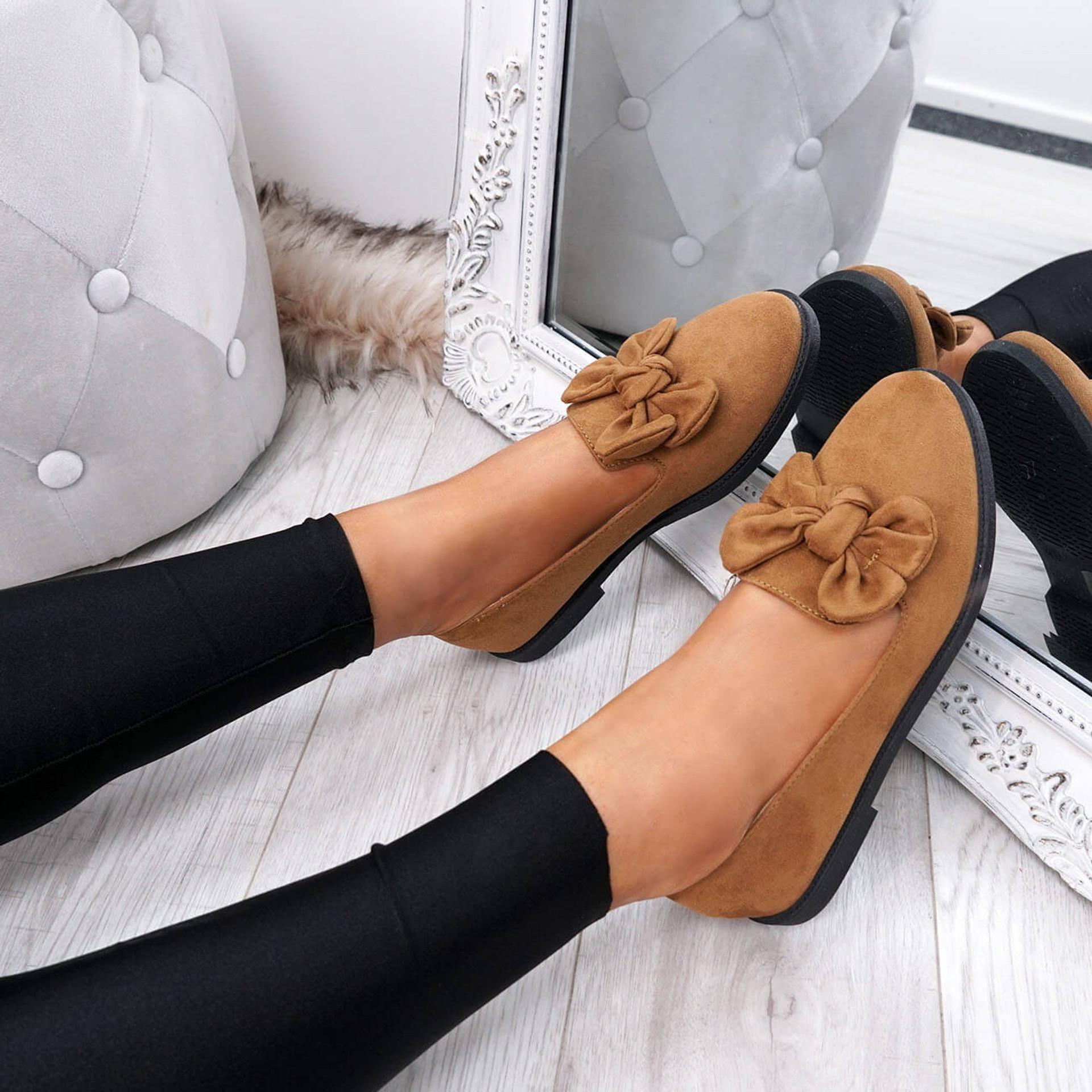 Onty Camel Bow Ballerinas