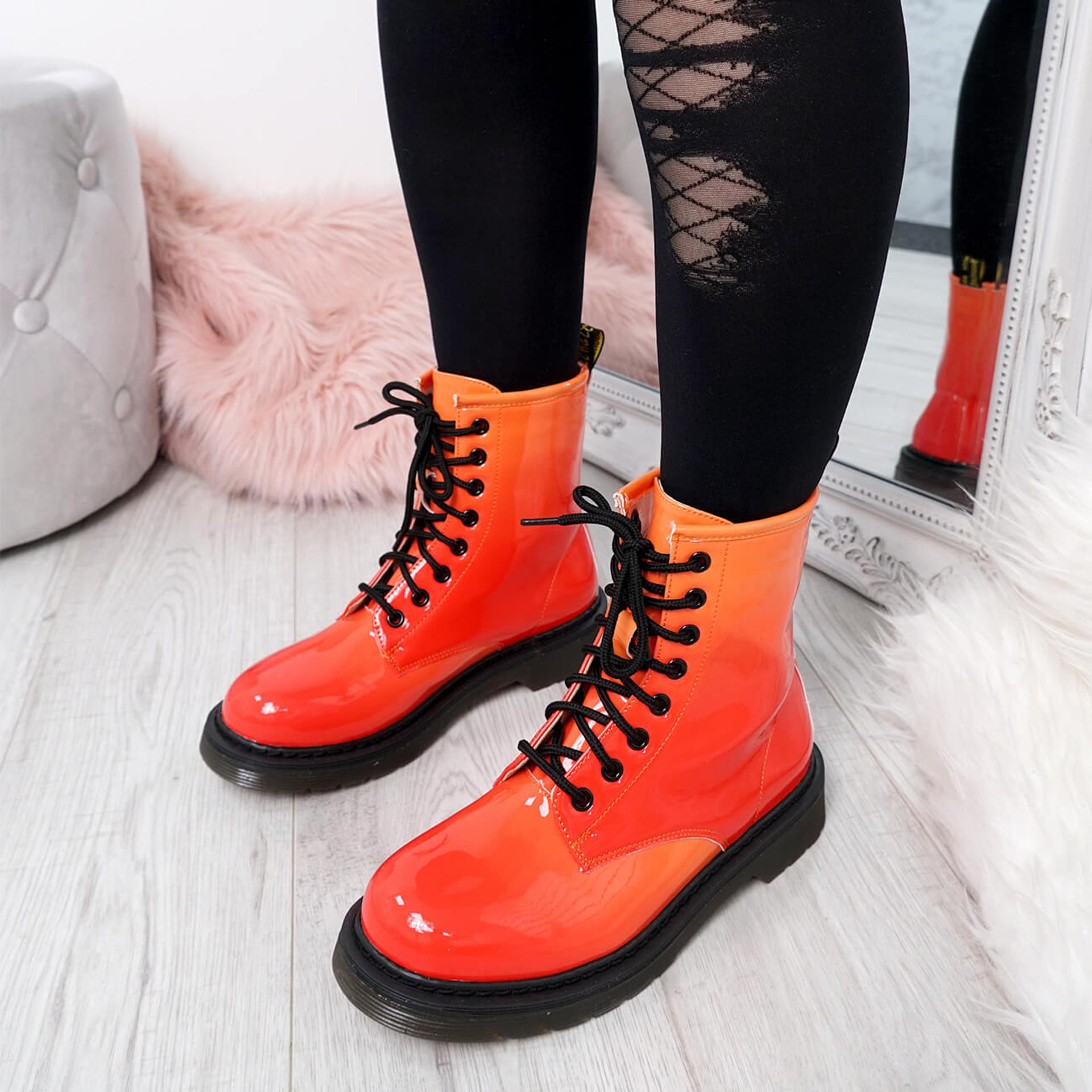 Seda Yellow Patent Ankle Boots
