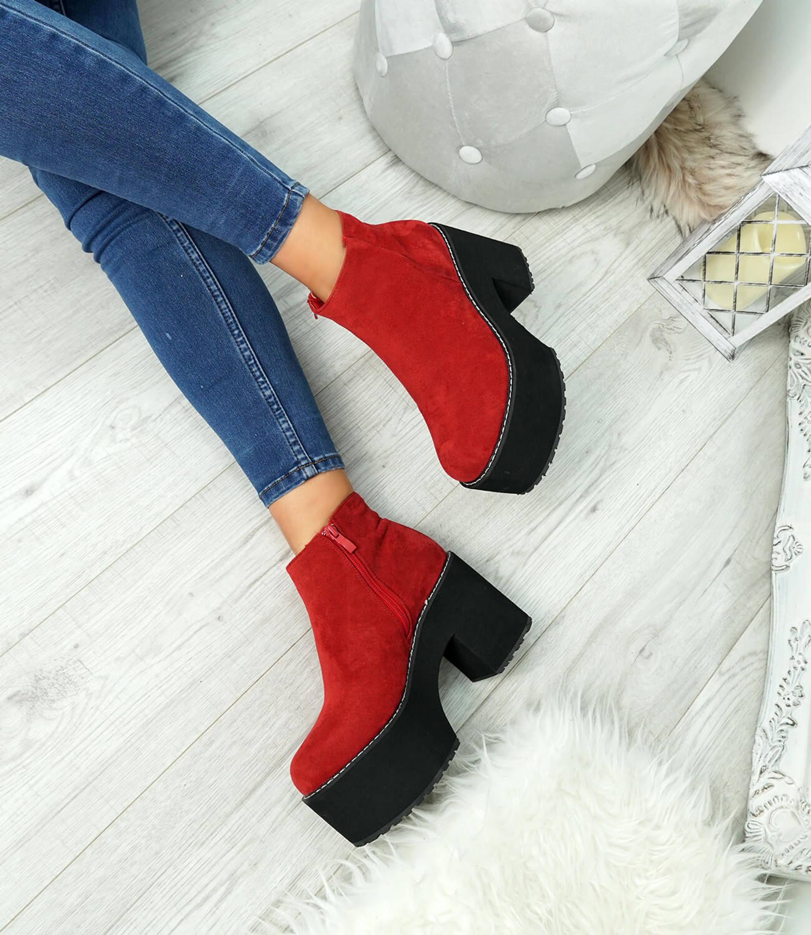 Garna Red Zip Ankle Boots