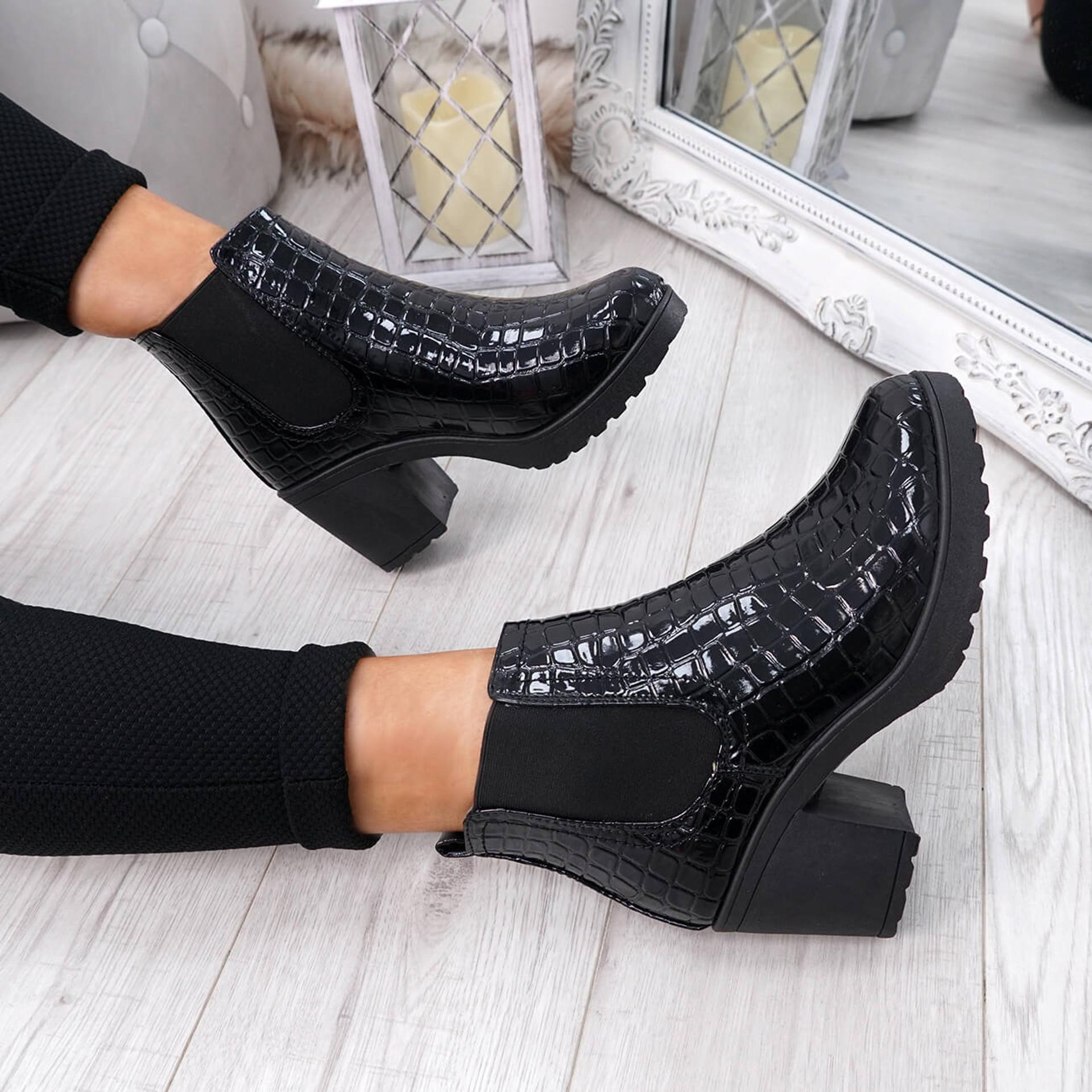 Zimka Black Croc Skin Ankle Boots