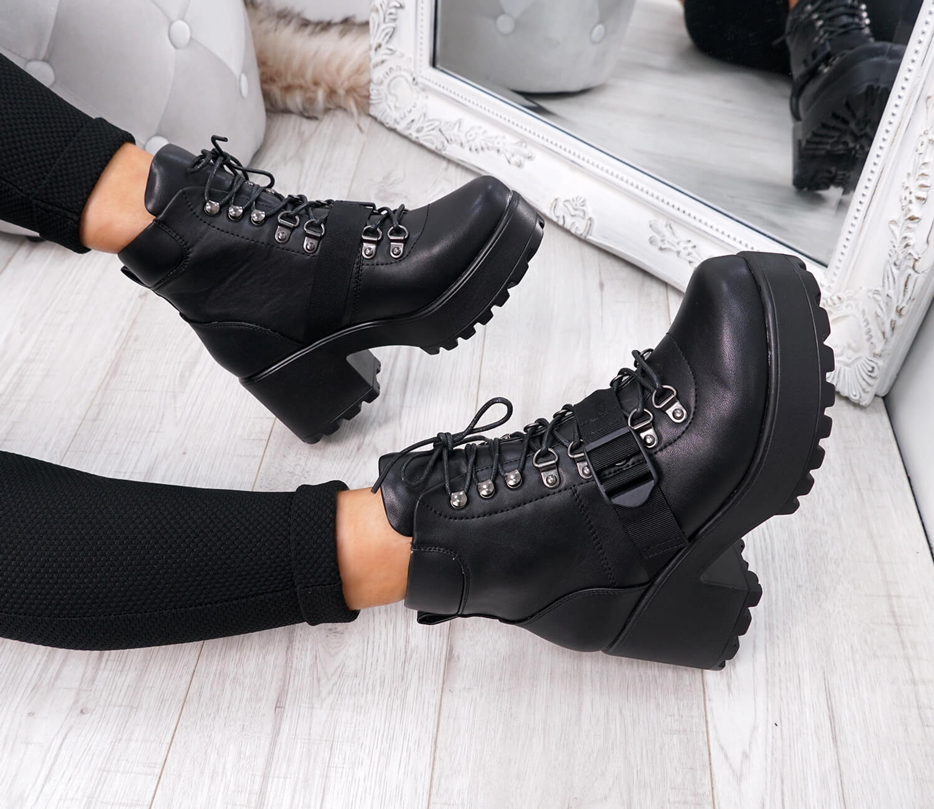 Mellin Black Pu Lace Up Boots
