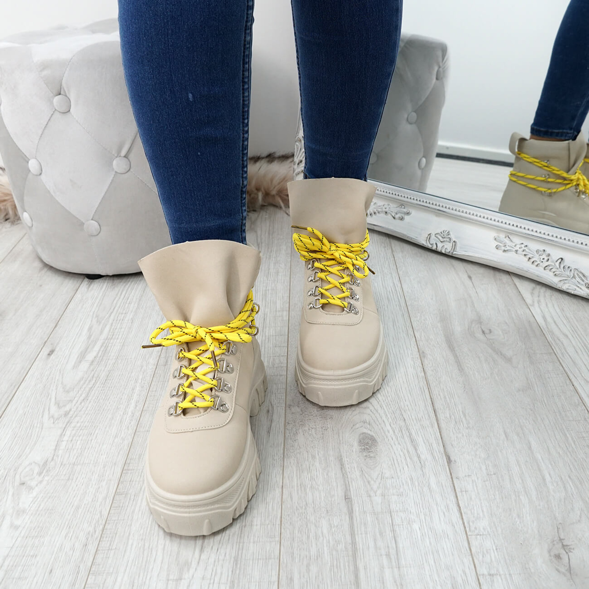 Cibba Beige Nubuck Ankle Boots