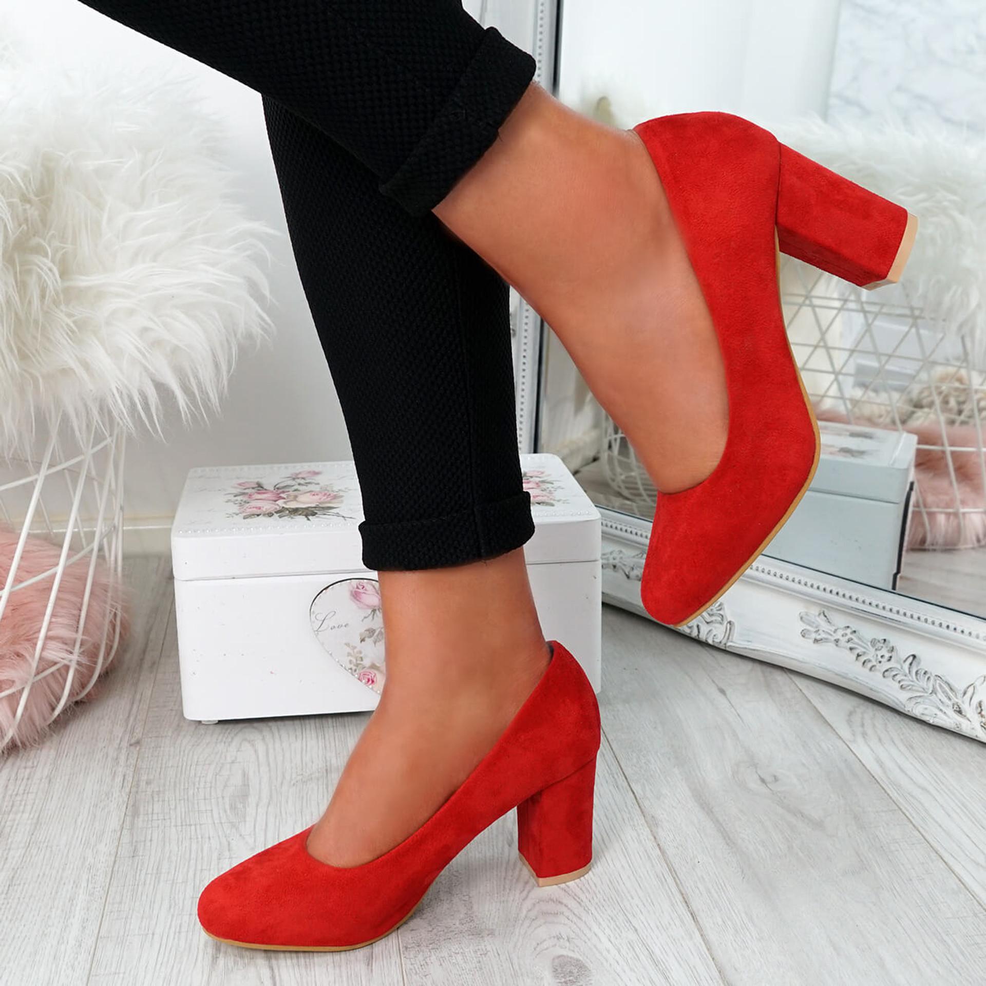 Novia Red Slip On Court Pumps