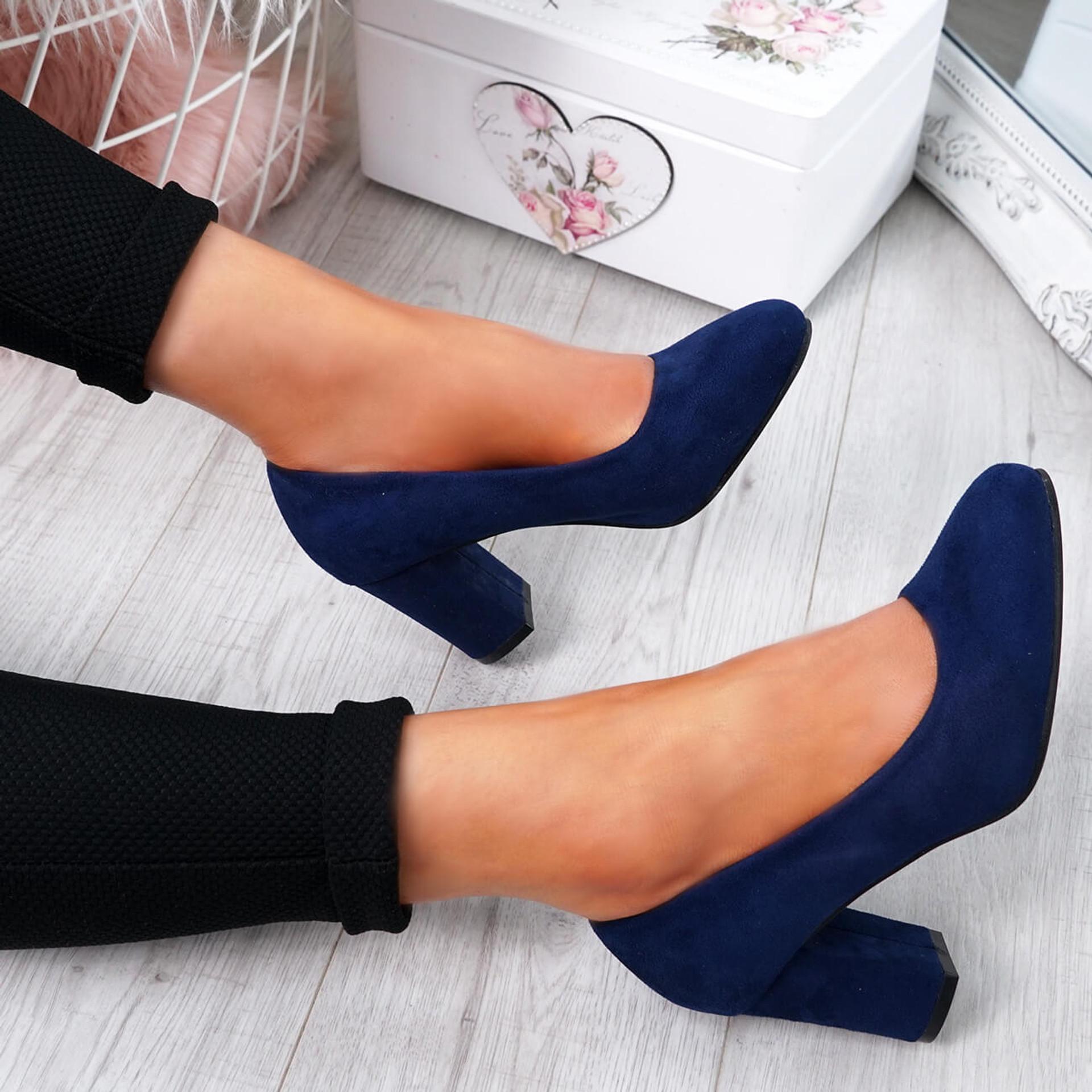 Novia Dark Blue Slip On Court Pumps