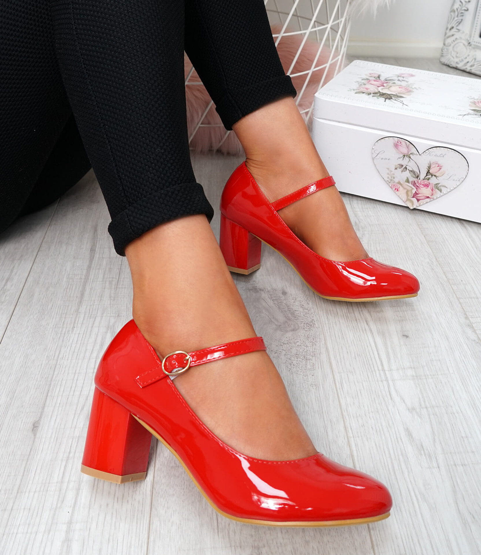 Nimony Red Mary Jane Pumps